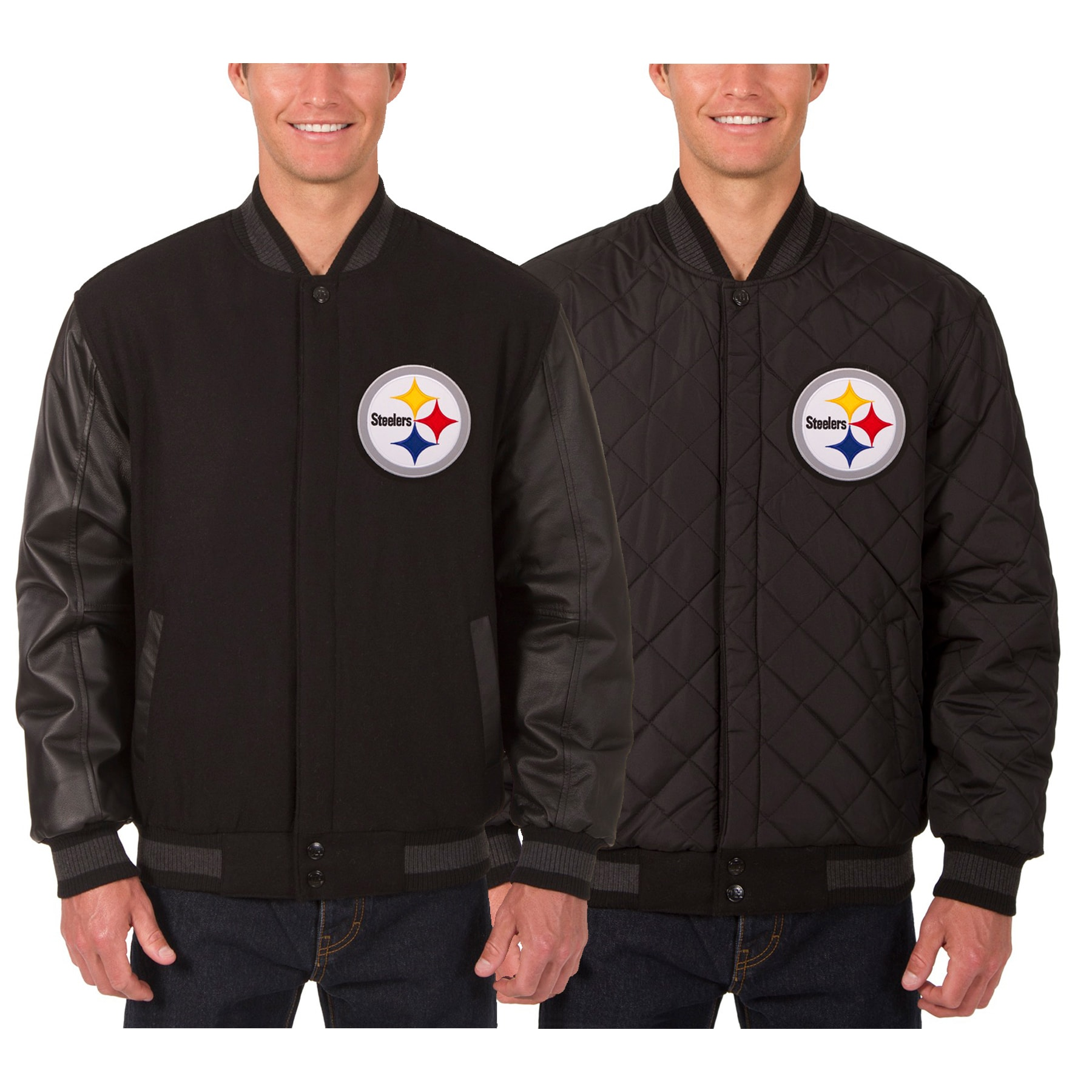 Pittsburgh Steelers JH Design Wool & Leather Reversible Jacket with Embroidered Logos - Black