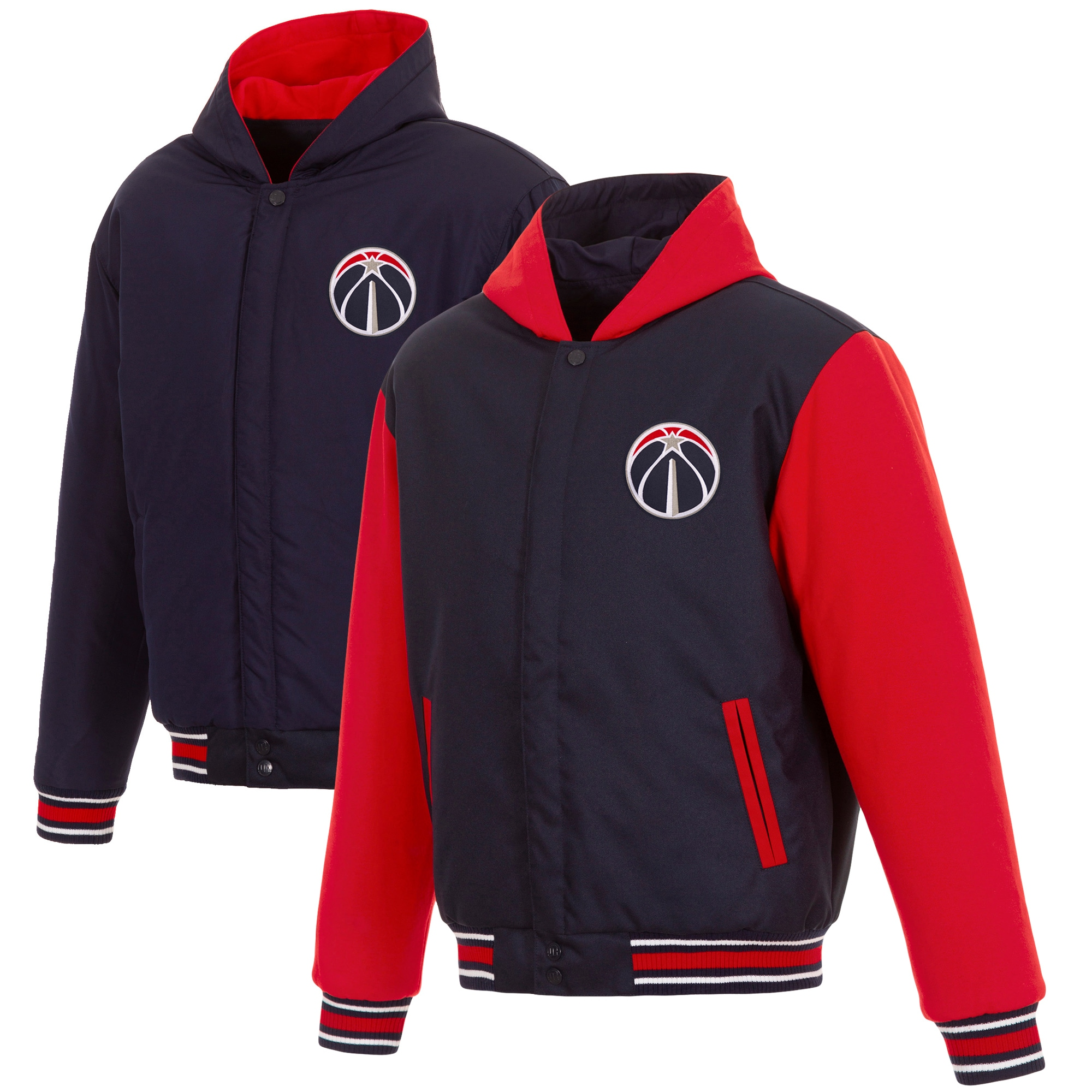 Washington Wizards JH Design Reversible Poly-Twill Hooded Jacket with Fleece Sleeves - Navy/Red