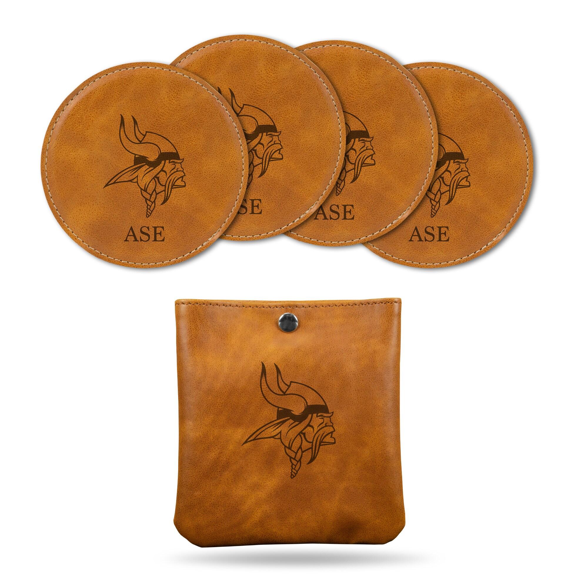 Minnesota Vikings Sparo 4-Pack Personalized Coaster Set - Brown