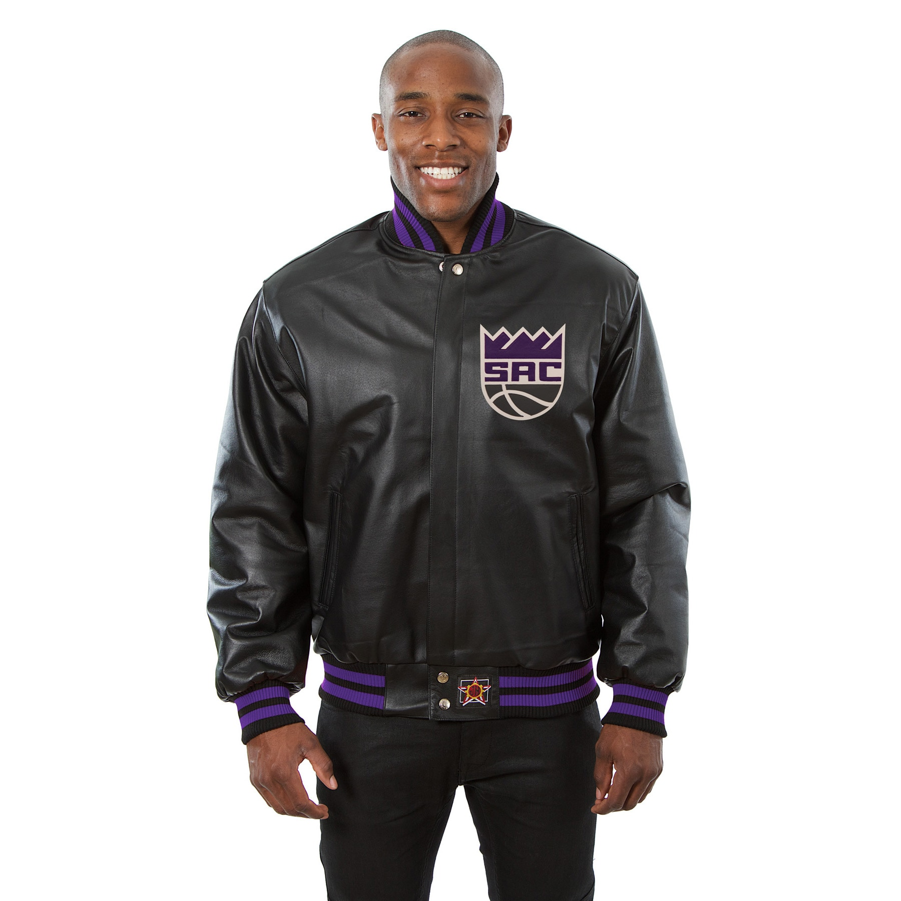 Sacramento Kings JH Design Domestic Team Color Leather Jacket - Black