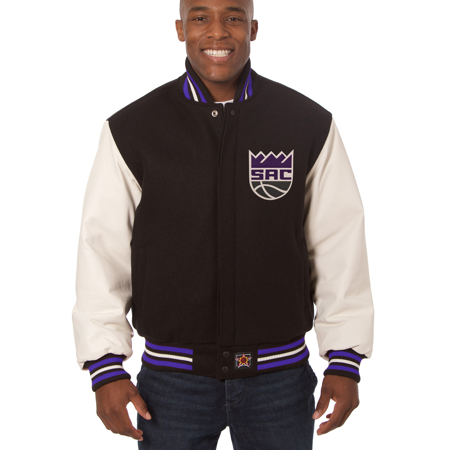 Sacramento Kings JH Design Domestic Two-Tone Wool and Leather Jacket - Black