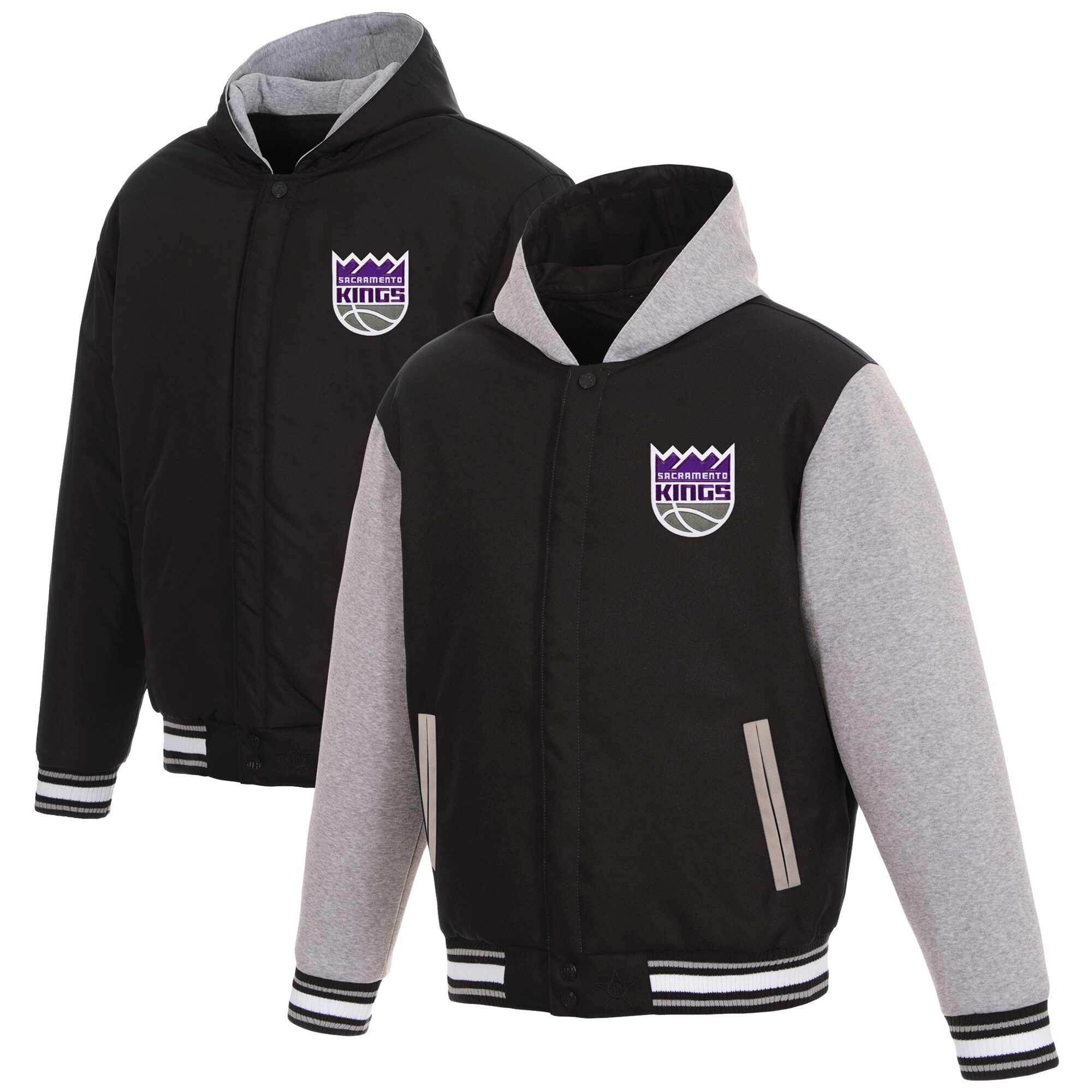 Sacramento Kings JH Design Reversible Poly-Twill Hooded Jacket with Fleece Sleeves - Black/Gray