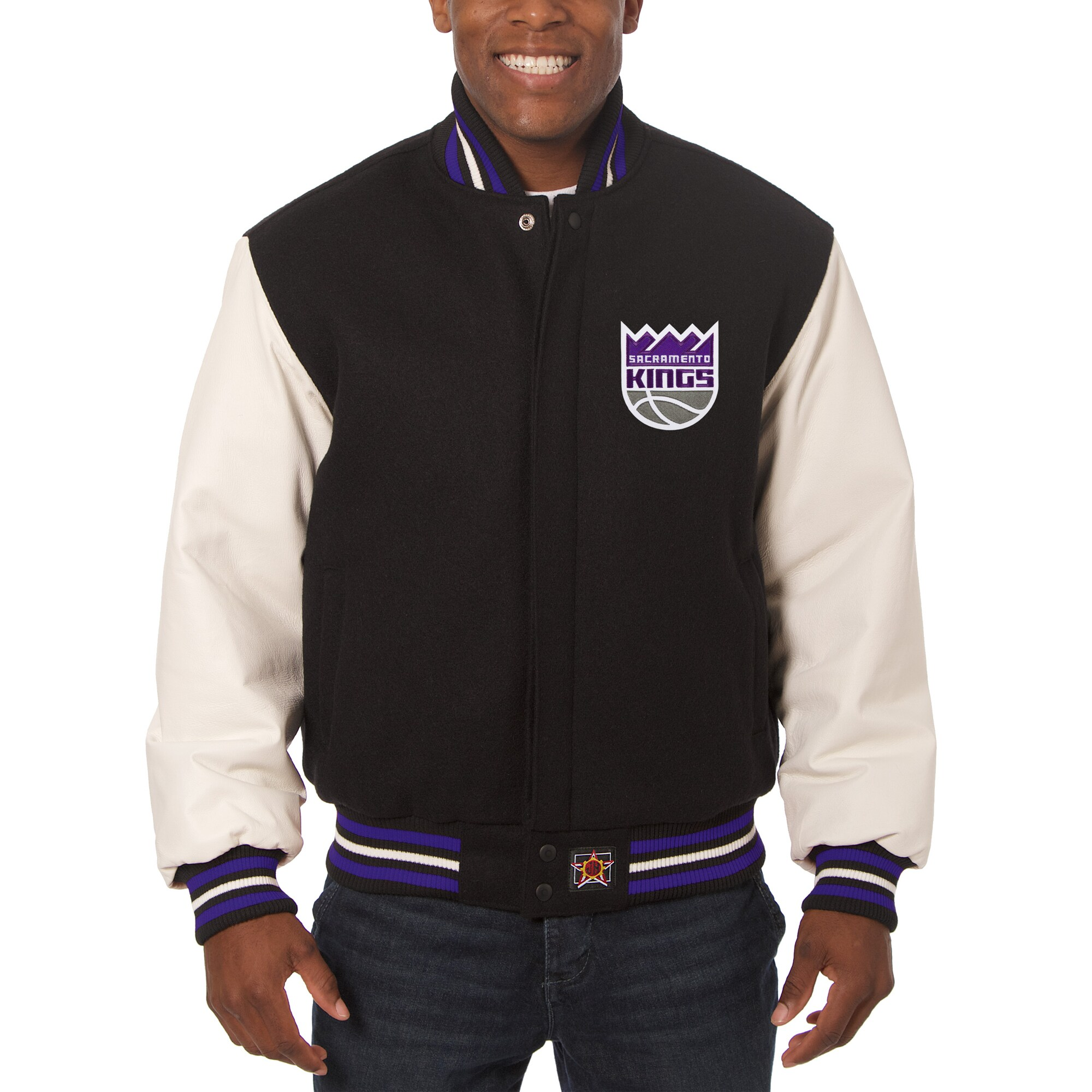 Sacramento Kings JH Design Big & Tall Wool & Leather Jacket - Black/White