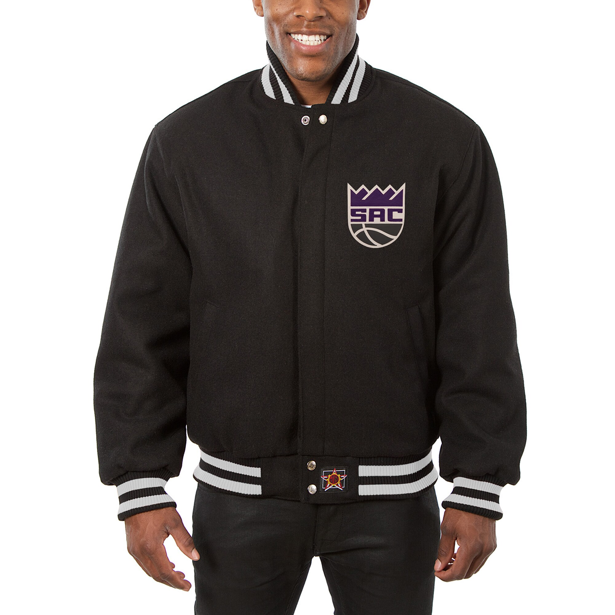 Sacramento Kings JH Design Big & Tall All Wool Jacket with Leather Logo - Black