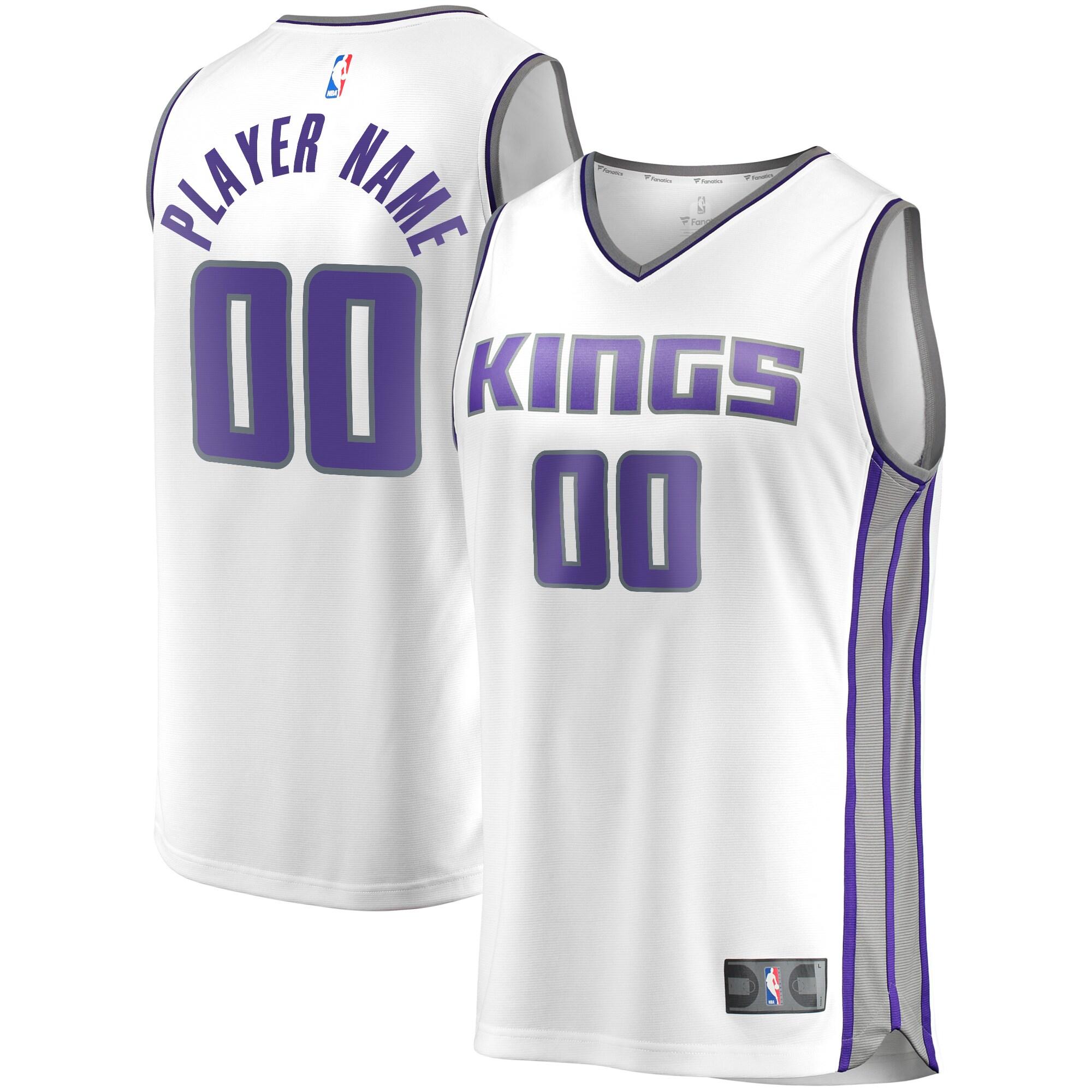 Sacramento Kings Fanatics Branded Fast Break Custom Replica Jersey White - Association Edition