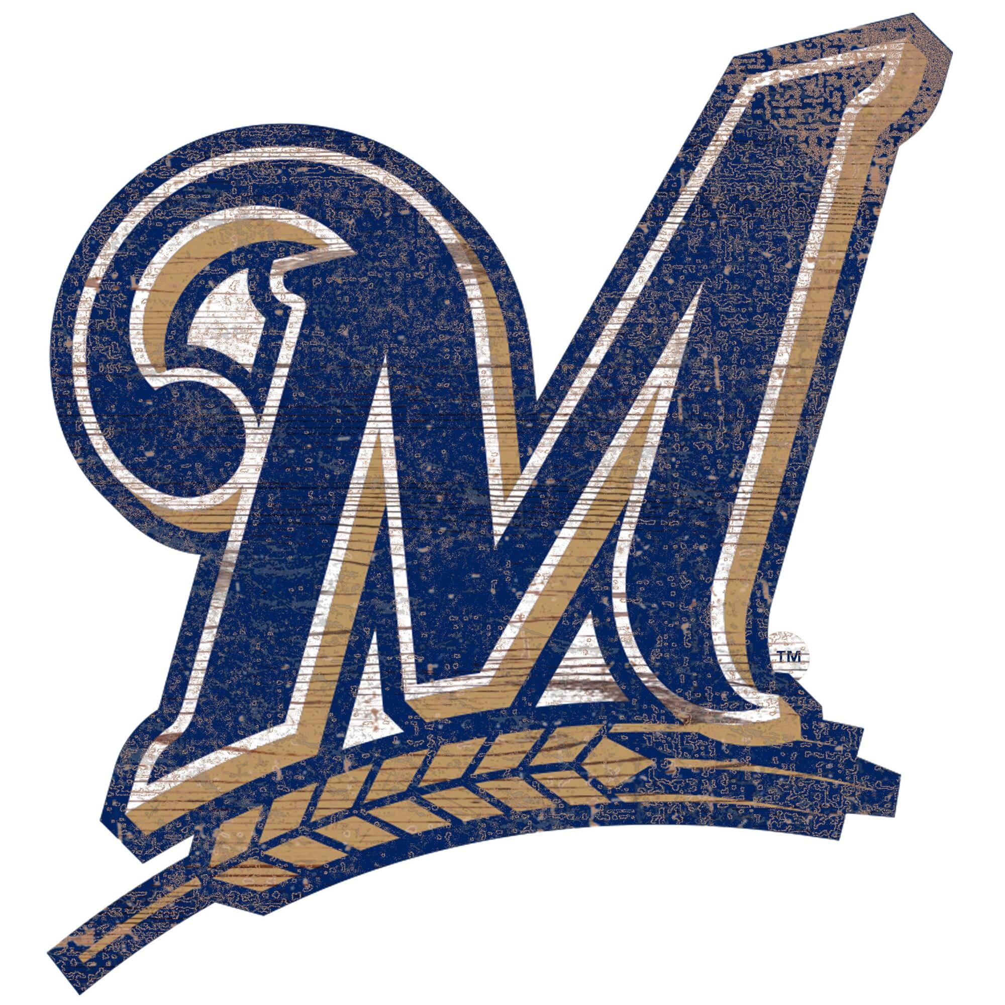 Milwaukee Brewers 24'' x 24'' Distressed Logo Cutout Sign