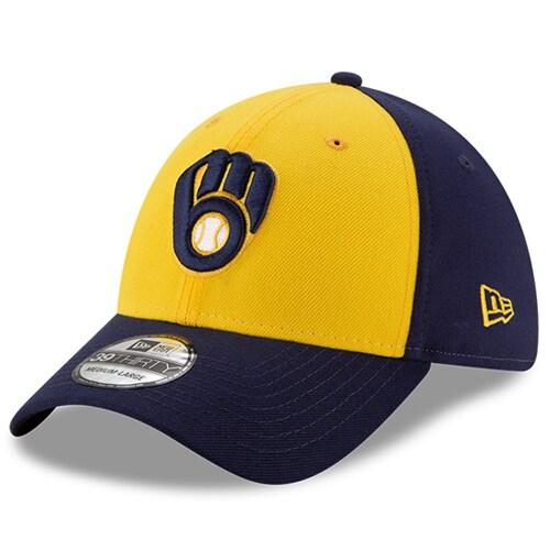 Milwaukee Brewers New Era Alternate Team Classic 39THIRTY Flex Hat - Gold/Navy