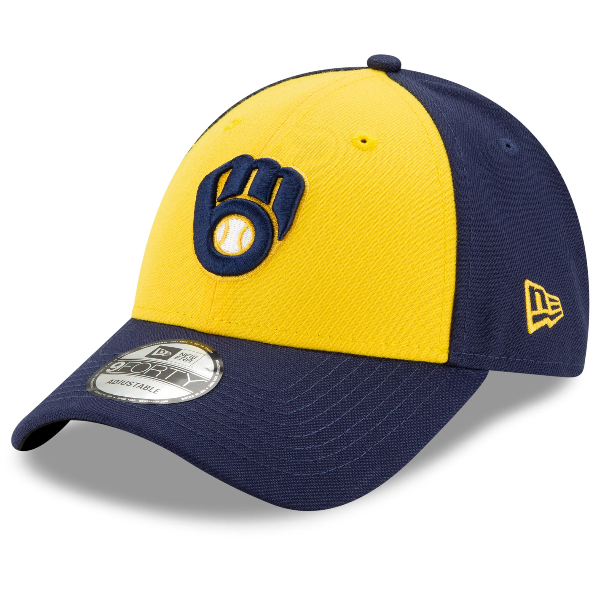 Milwaukee Brewers New Era Alternate The League 9FORTY Adjustable Hat - Gold/Navy