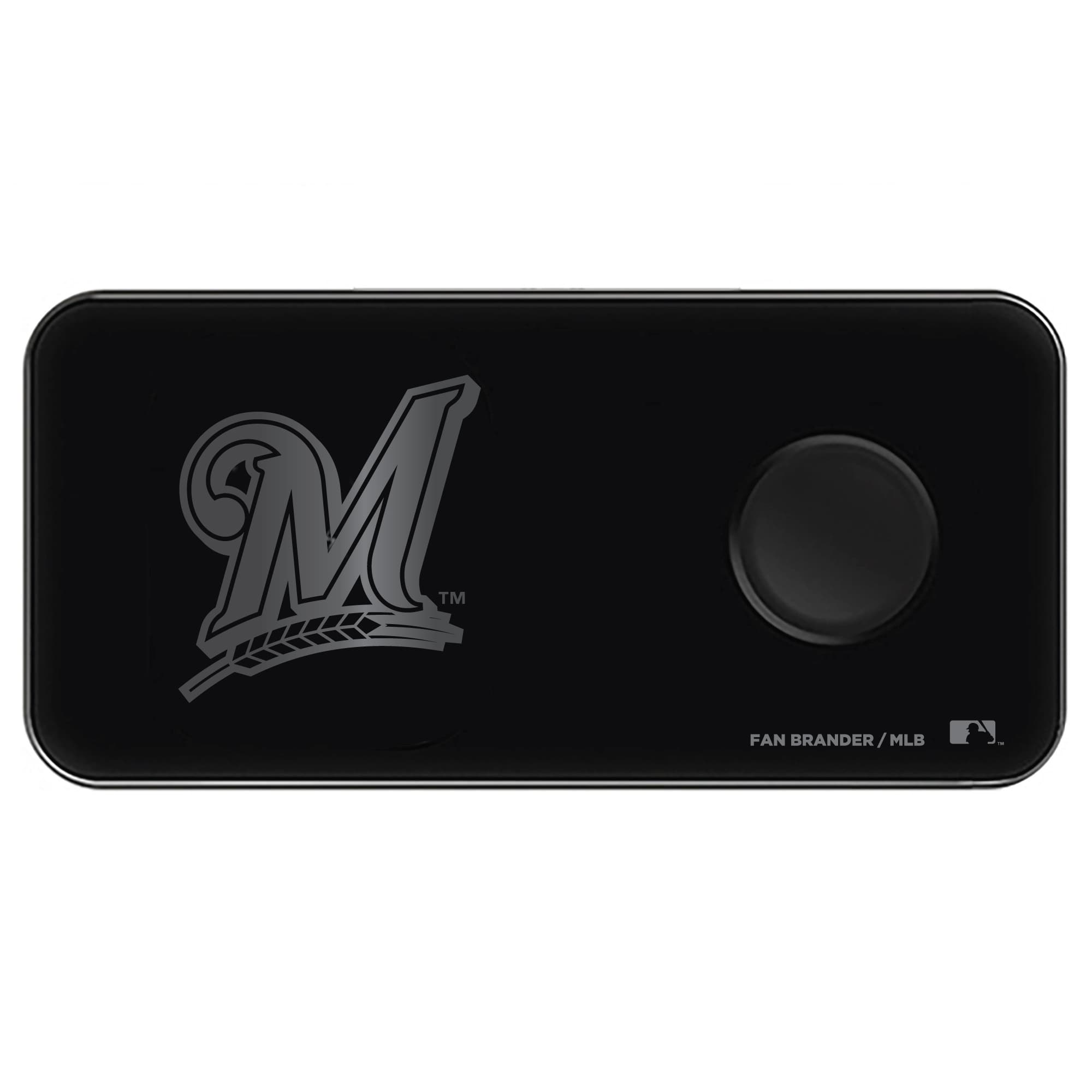 Milwaukee Brewers 3-in-1 Glass Wireless Charge Pad - Black