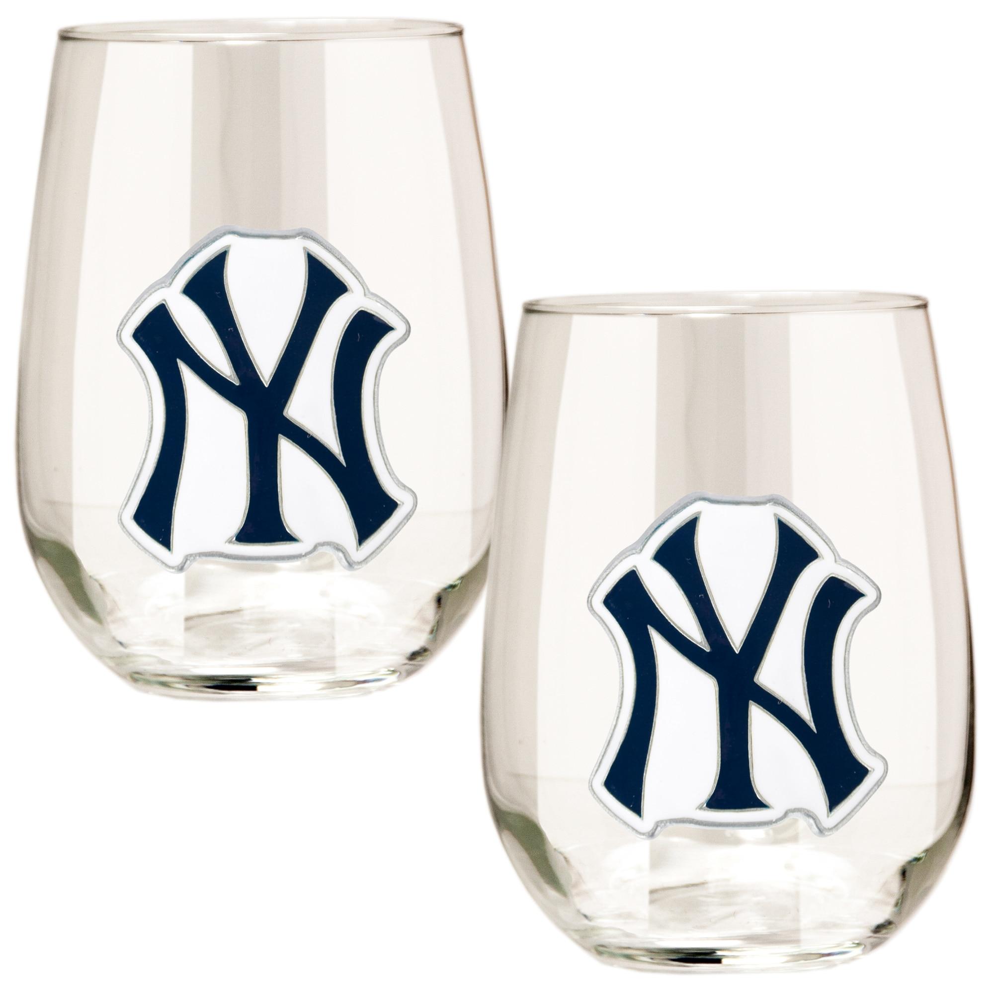 New York Yankees Stemless Wine Glass Set