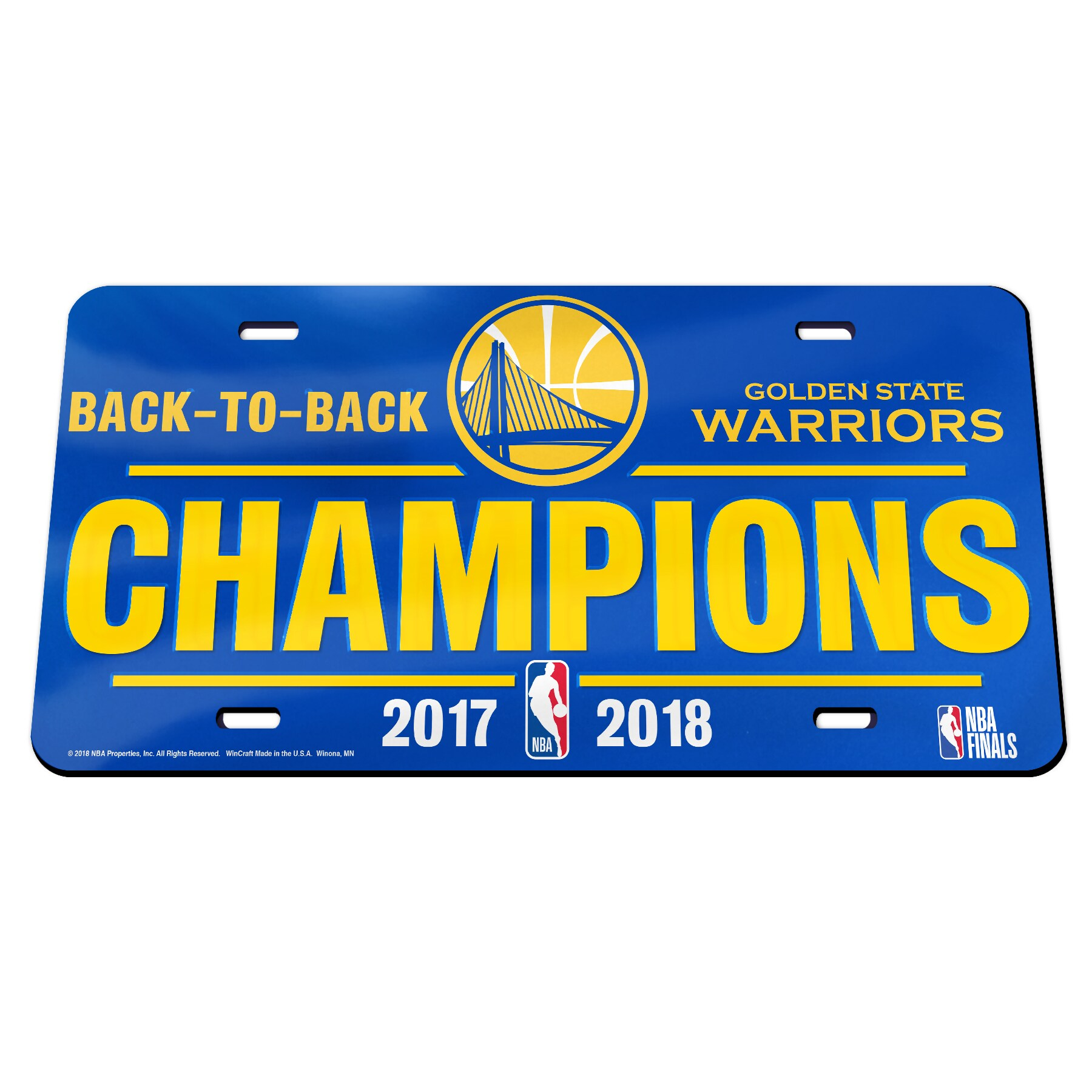 Golden State Warriors WinCraft 2018 NBA Finals Champions Acrylic Mirror License Plate