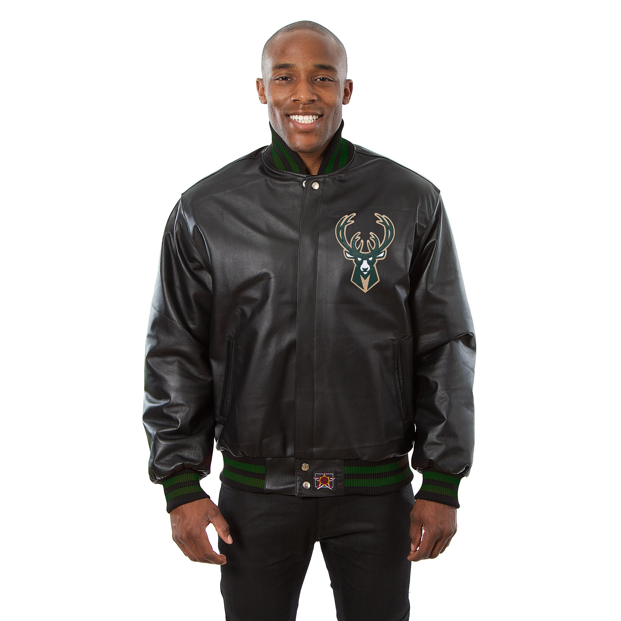Milwaukee Bucks JH Design Domestic Team Color Leather Jacket - Black