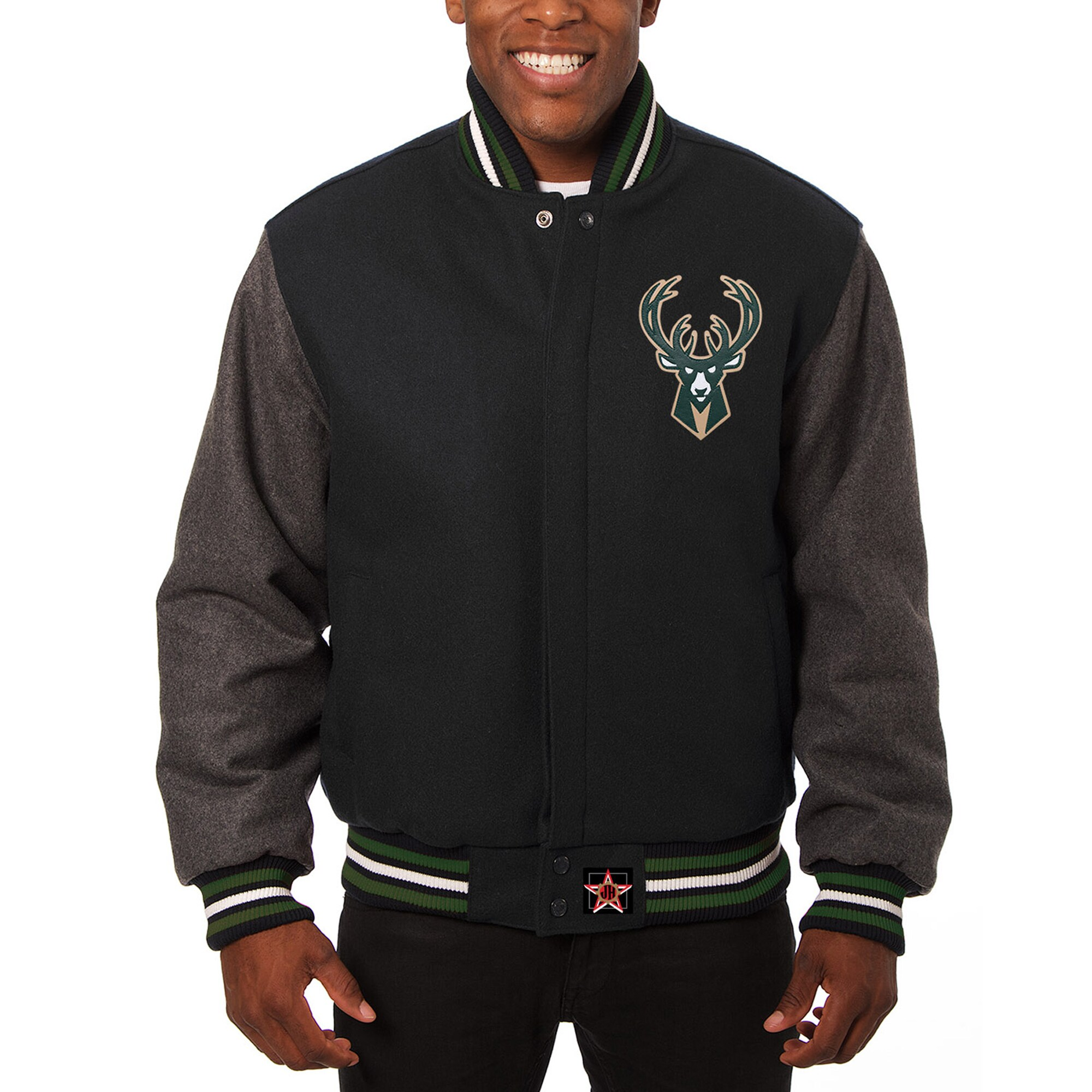 Milwaukee Bucks JH Design Domestic Two-Tone Wool Jacket - Black