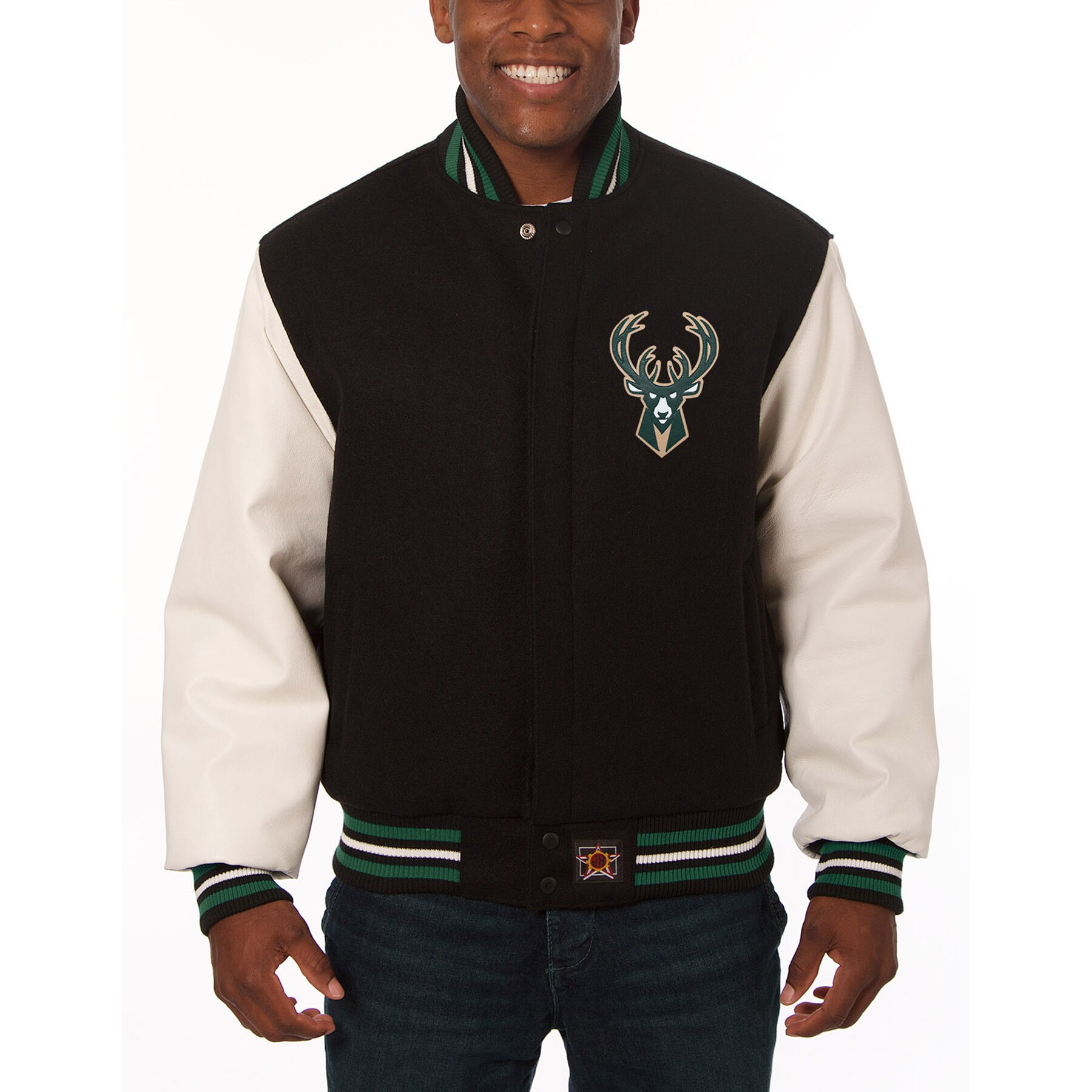 Milwaukee Bucks JH Design Domestic Two-Tone Wool and Leather Jacket - Black