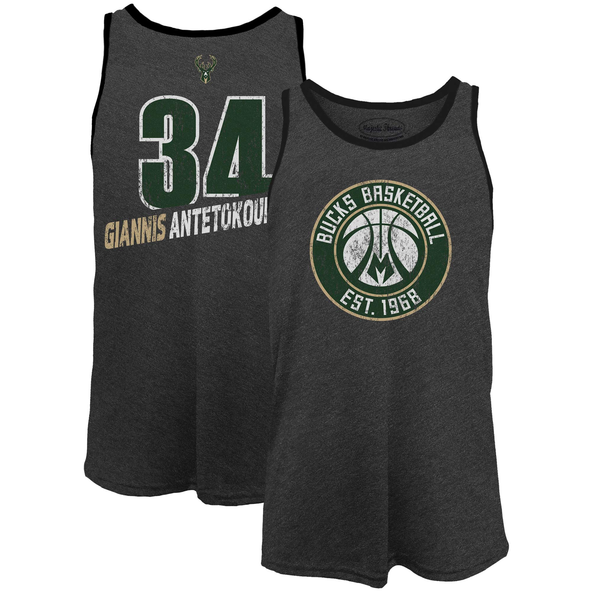 Giannis Antetokounmpo Milwaukee Bucks Majestic Threads Name & Number Tri-Blend Tank Top - Black
