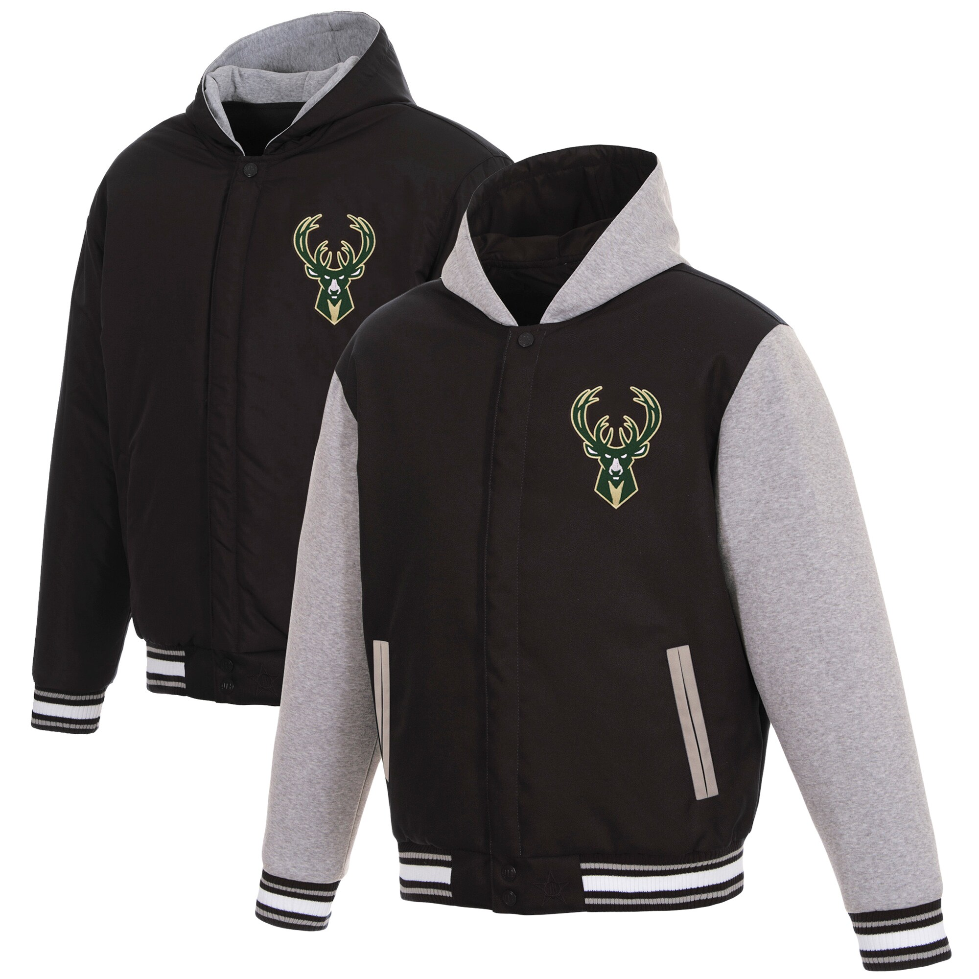 Milwaukee Bucks JH Design Reversible Poly-Twill Hooded Jacket with Fleece Sleeves - Black/Gray