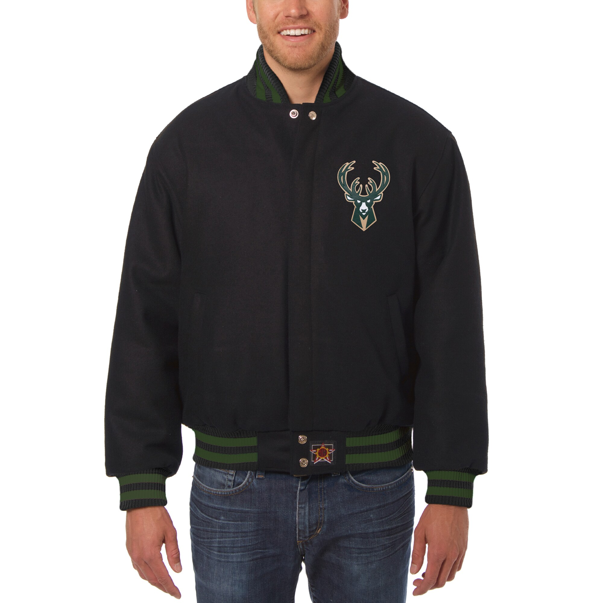 Milwaukee Bucks JH Design Big & Tall All Wool Jacket with Leather Logo - Black