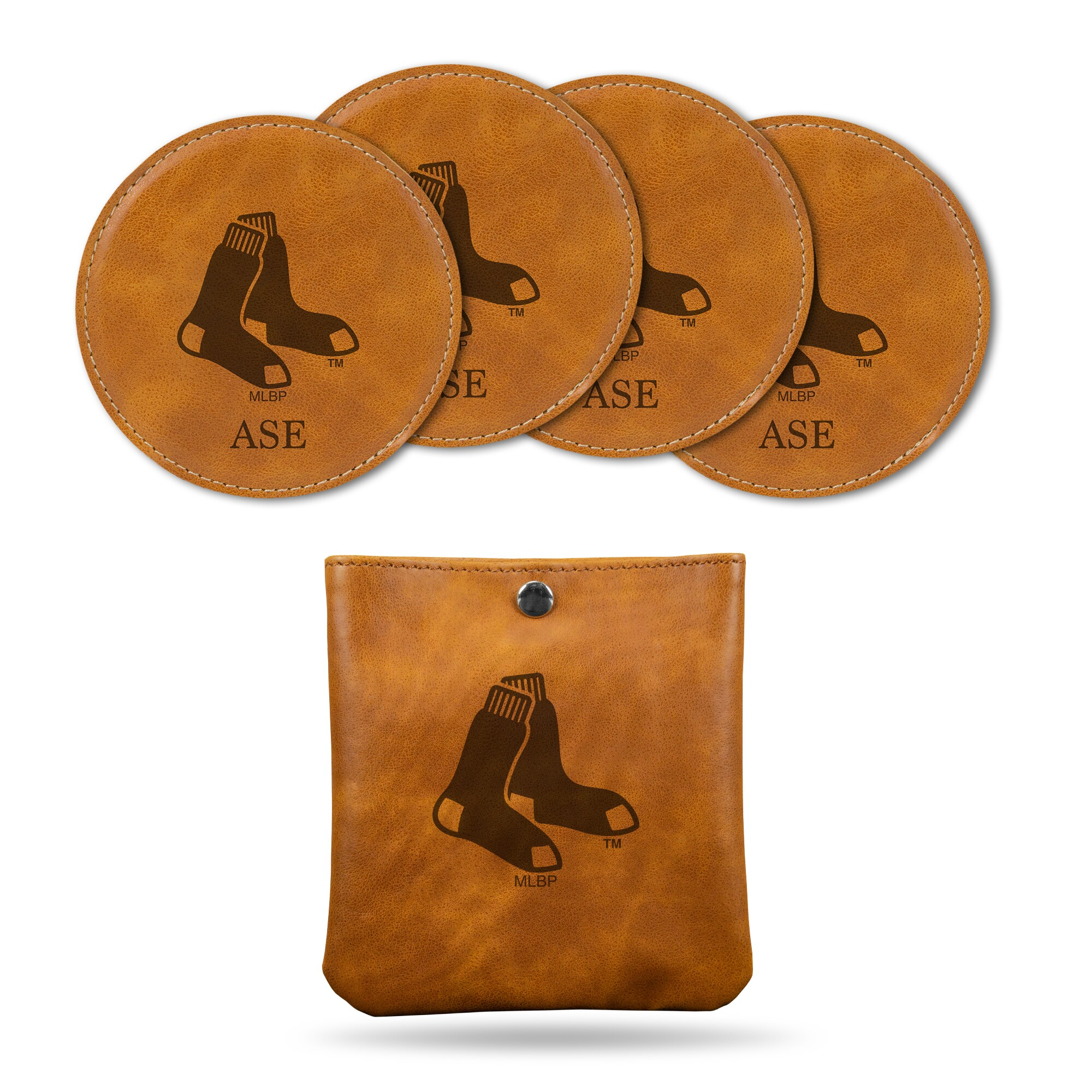 Boston Red Sox Sparo 4-Pack Personalized Coaster Set - Brown