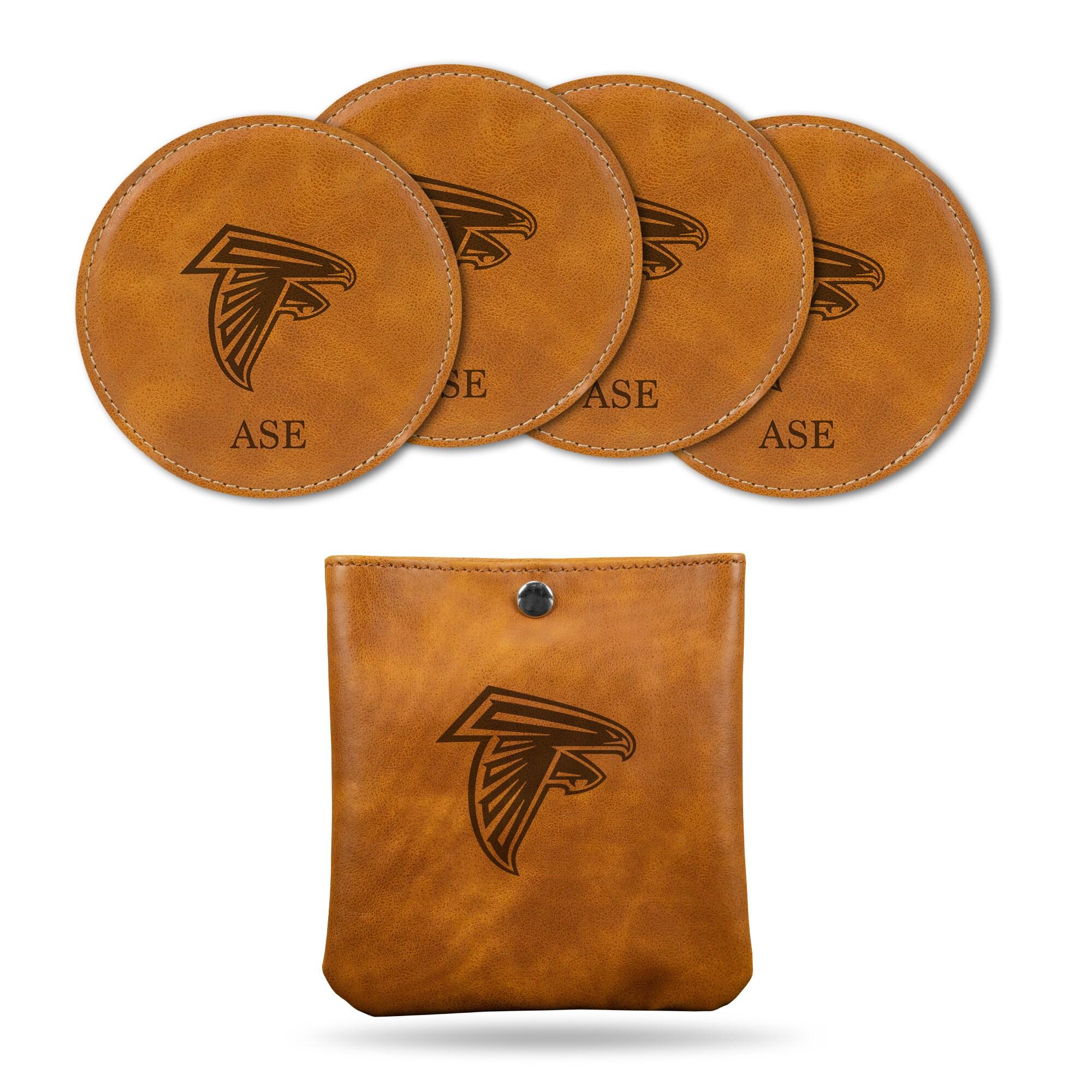 Atlanta Falcons Sparo 4-Pack Personalized Coaster Set - Brown