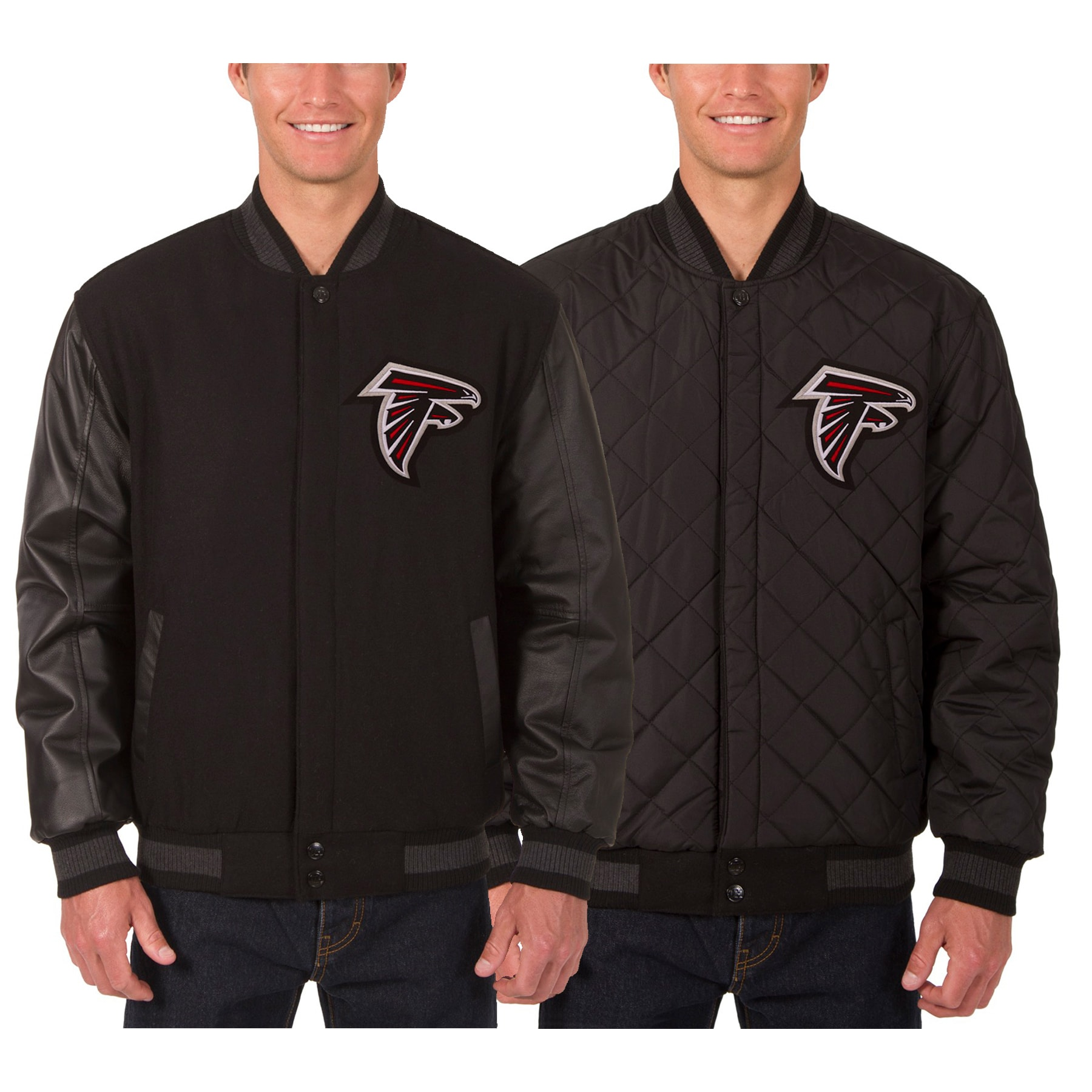 Atlanta Falcons JH Design Wool & Leather Reversible Jacket with Embroidered Logos - Black