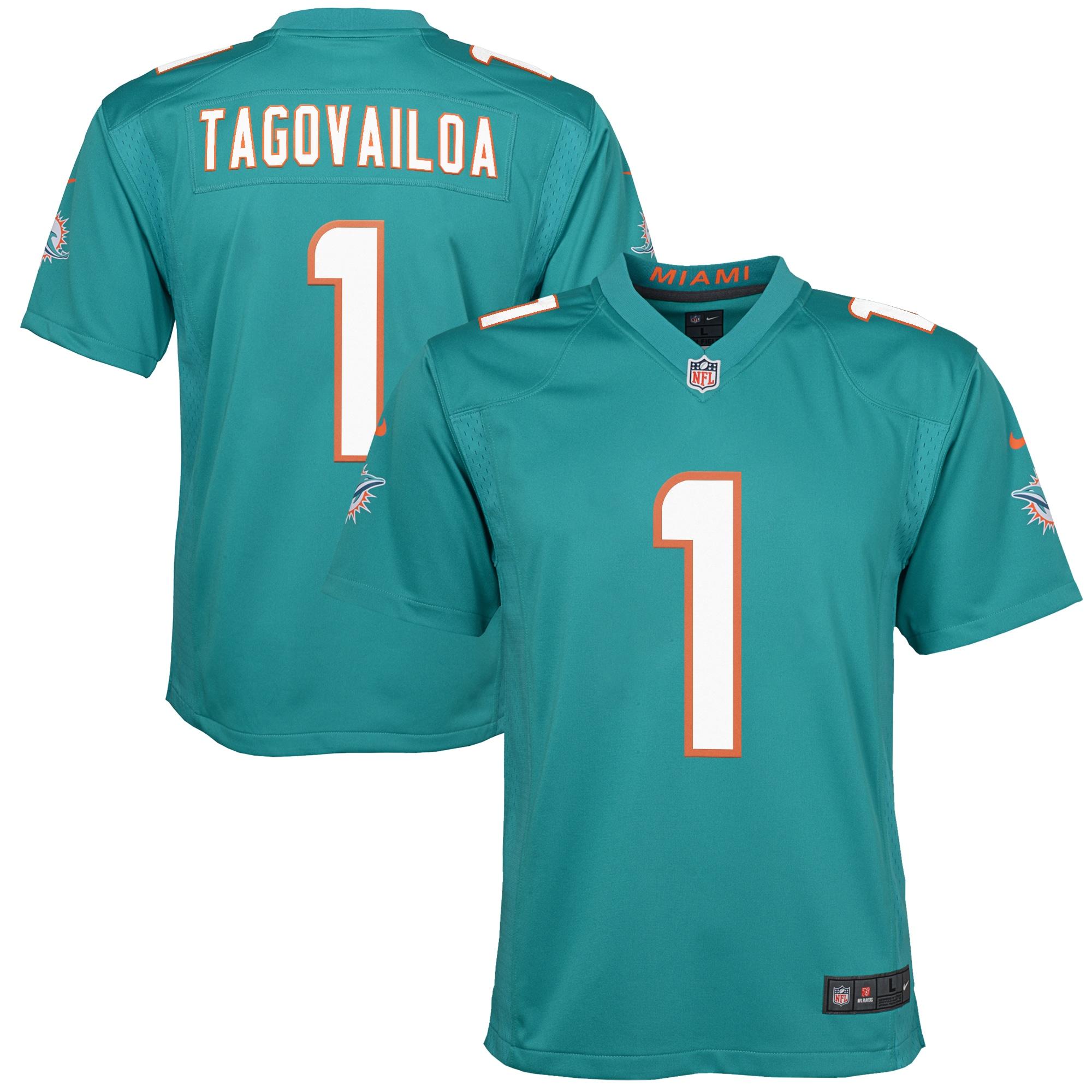 Tua Tagovailoa Miami Dolphins Nike Youth 2020 NFL Draft First Round Pick Game Jersey - Aqua