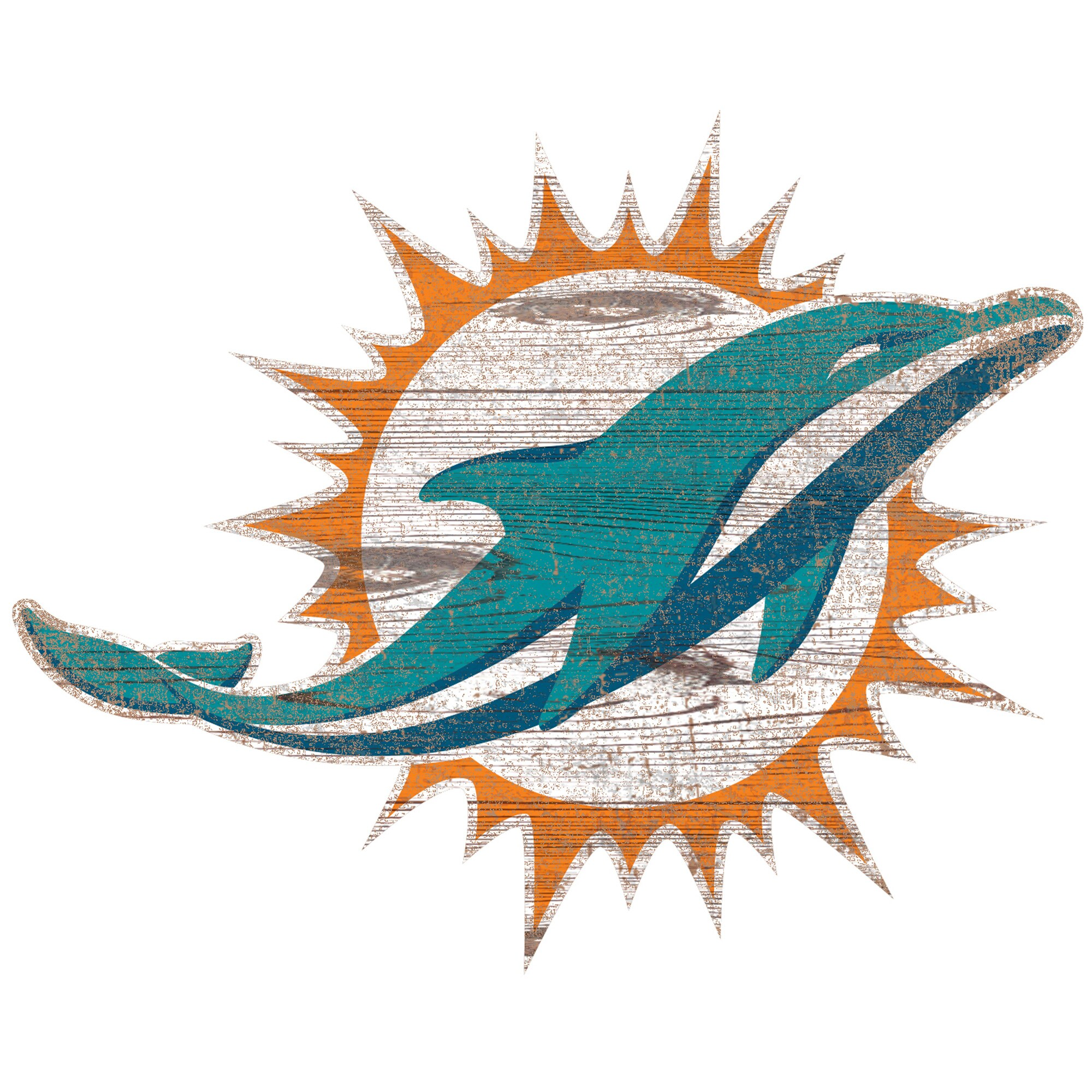 Miami Dolphins 24'' x 24'' Distressed Logo Cutout Sign