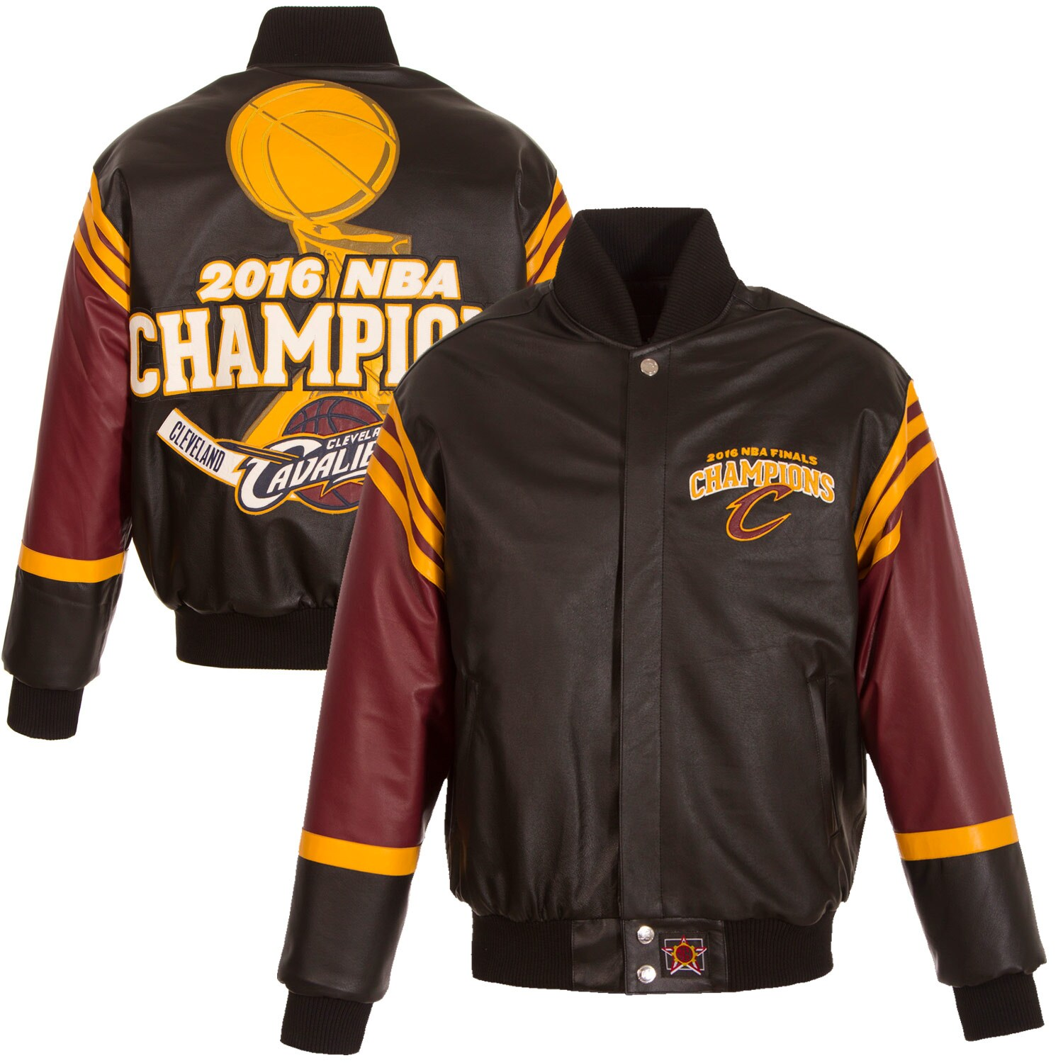 Cleveland Cavaliers JH Design 2016 NBA Finals Champions Domestic All Leather Jacket - Black