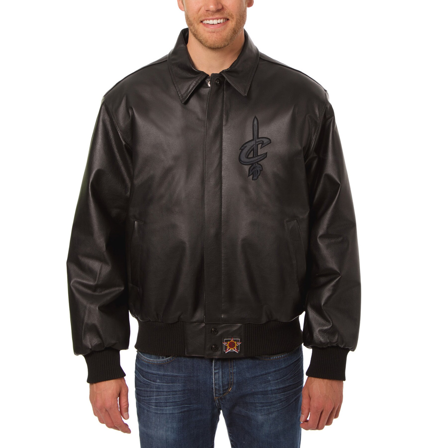 Cleveland Cavaliers JH Design Tonal Leather Full-Zip Jacket - Black