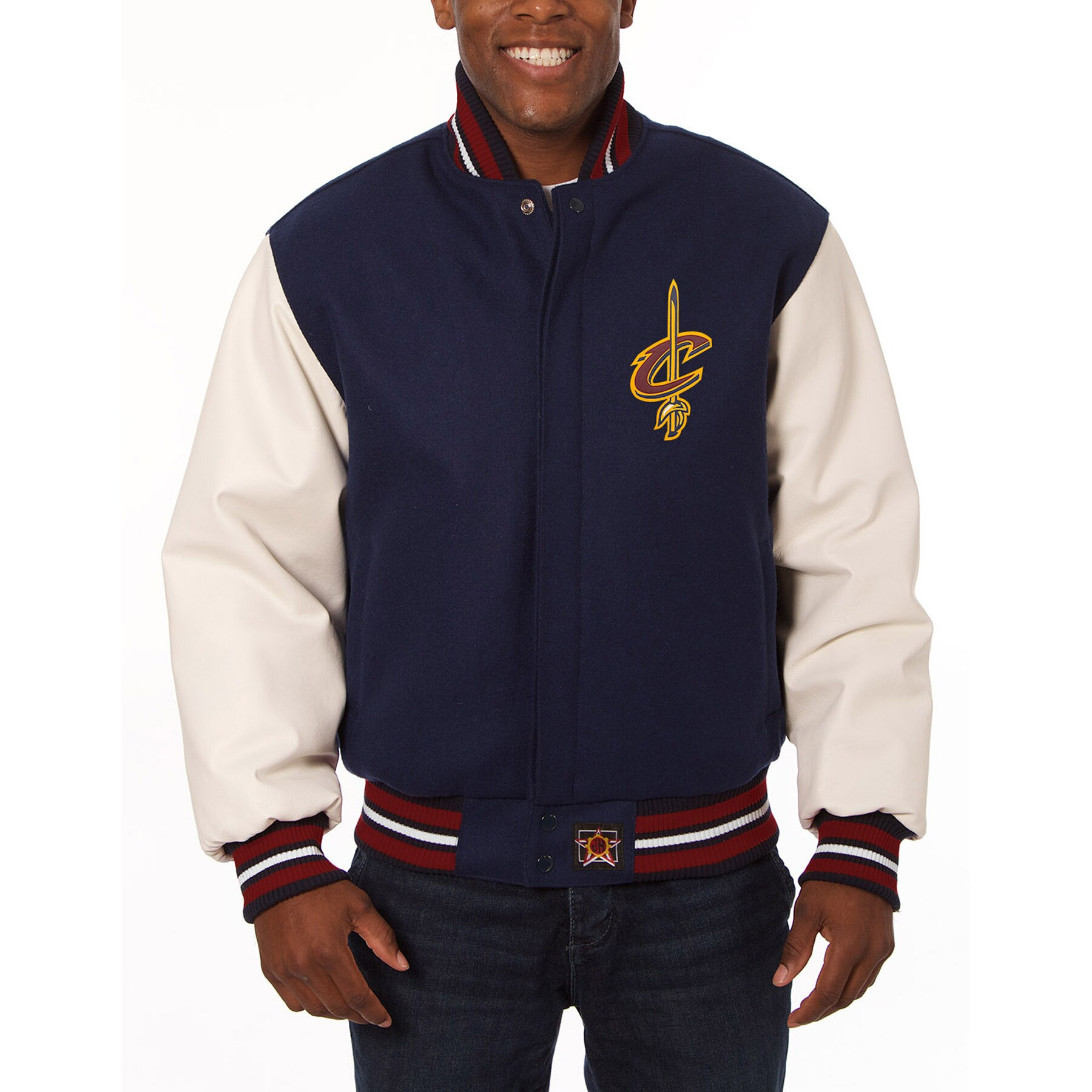 Cleveland Cavaliers JH Design Domestic Two-Tone Wool and Leather Jacket - Navy