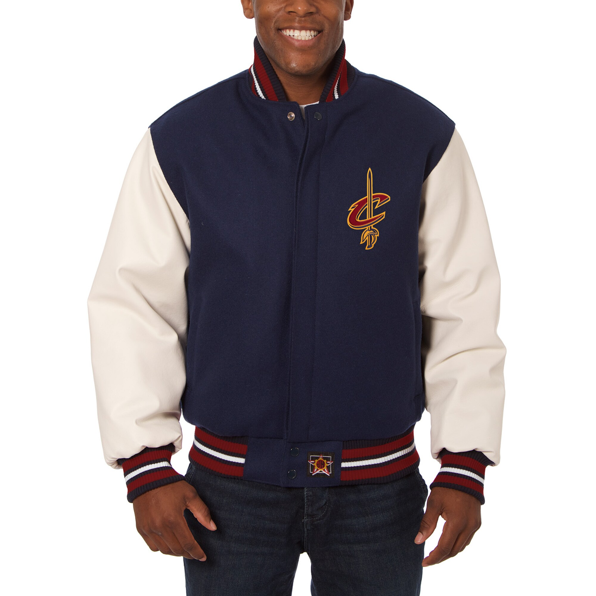Cleveland Cavaliers JH Design Big & Tall Wool & Leather Jacket - Navy/White
