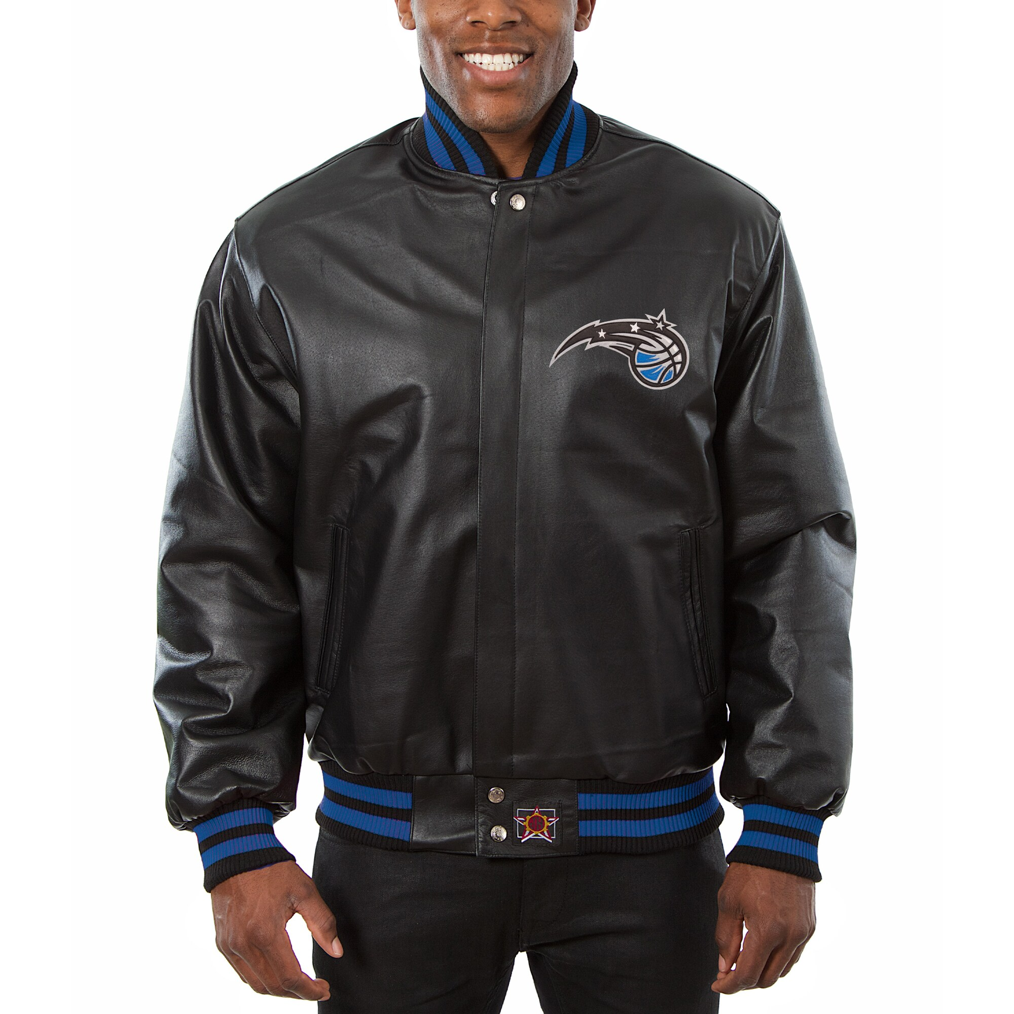 Orlando Magic JH Design Big & Tall All-Leather Logo Full-Snap Jacket - Black