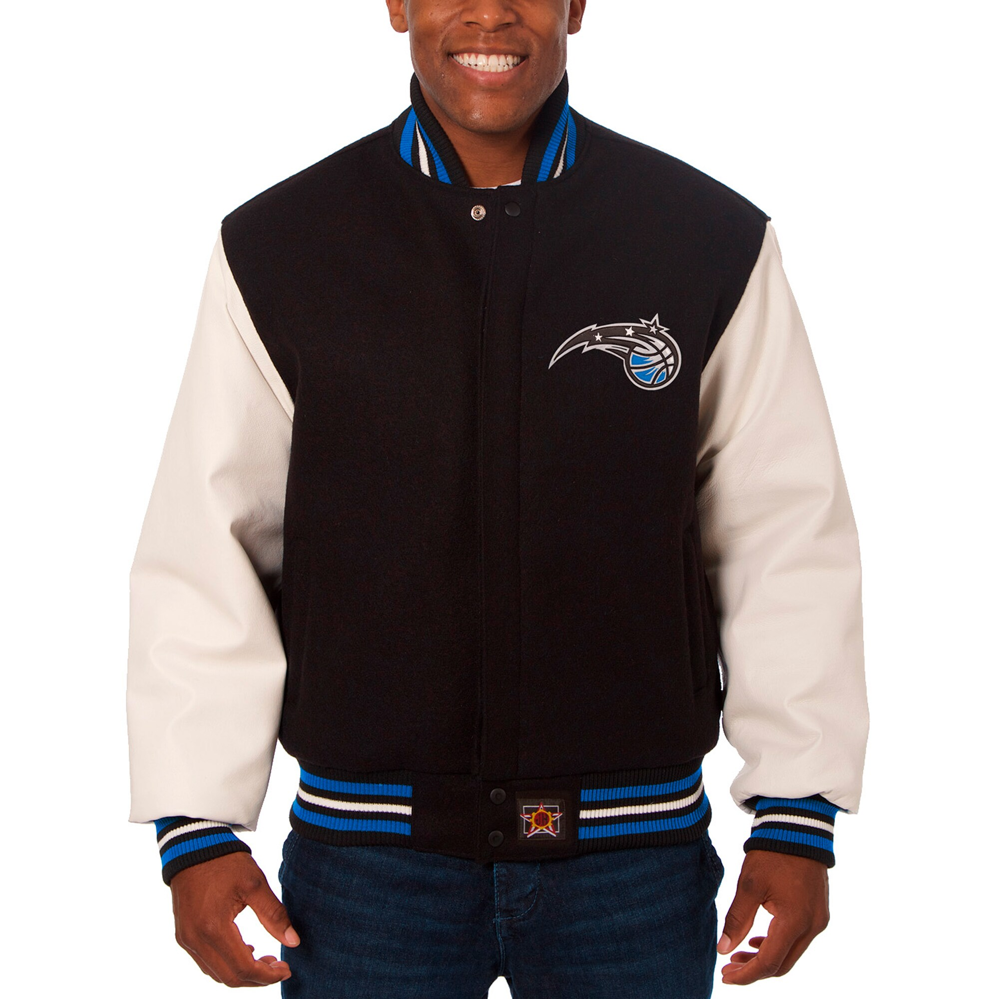 Orlando Magic JH Design Big & Tall Wool & Leather Full-Snap Jacket - Black/White