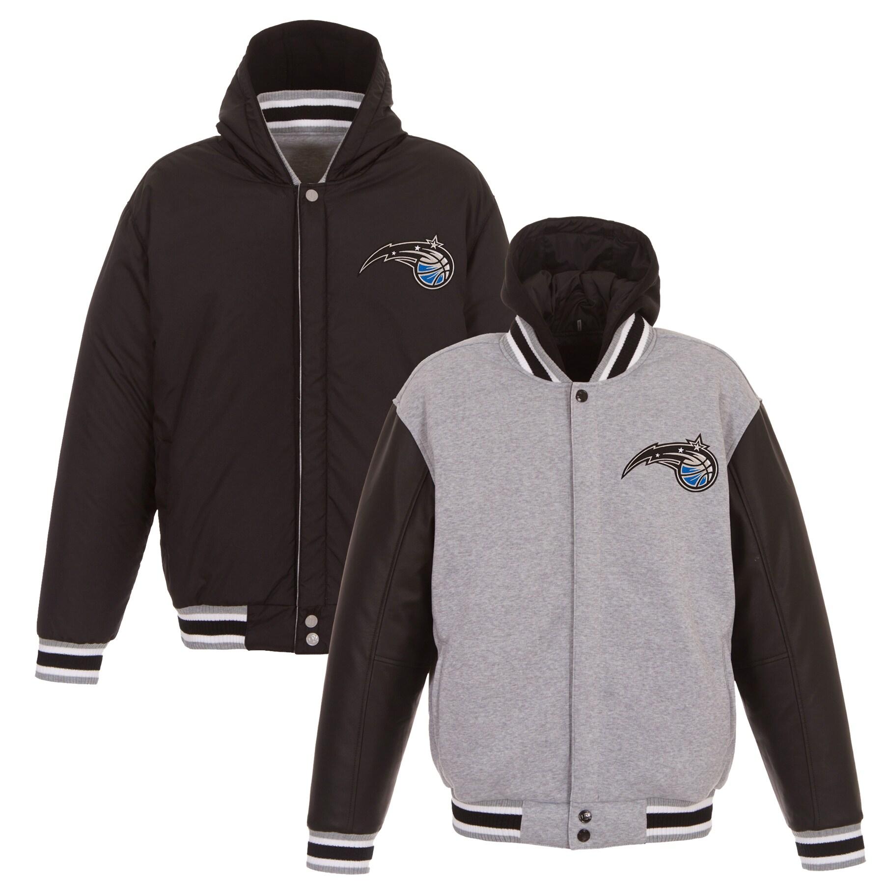 Orlando Magic JH Design Embroidered Logo Reversible Hooded Fleece Full-Snap Jacket - Gray/Black