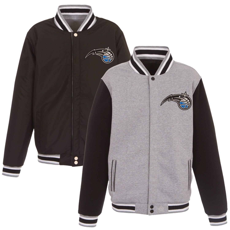 Orlando Magic JH Design Embroidered Logo Reversible Fleece Full-Snap Jacket - Gray/Black