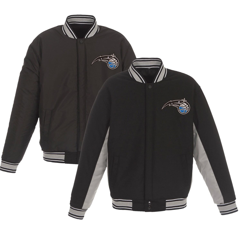Orlando Magic JH Design Reversible Wool & Poly-Twill Full-Snap Jacket - Black/Gray