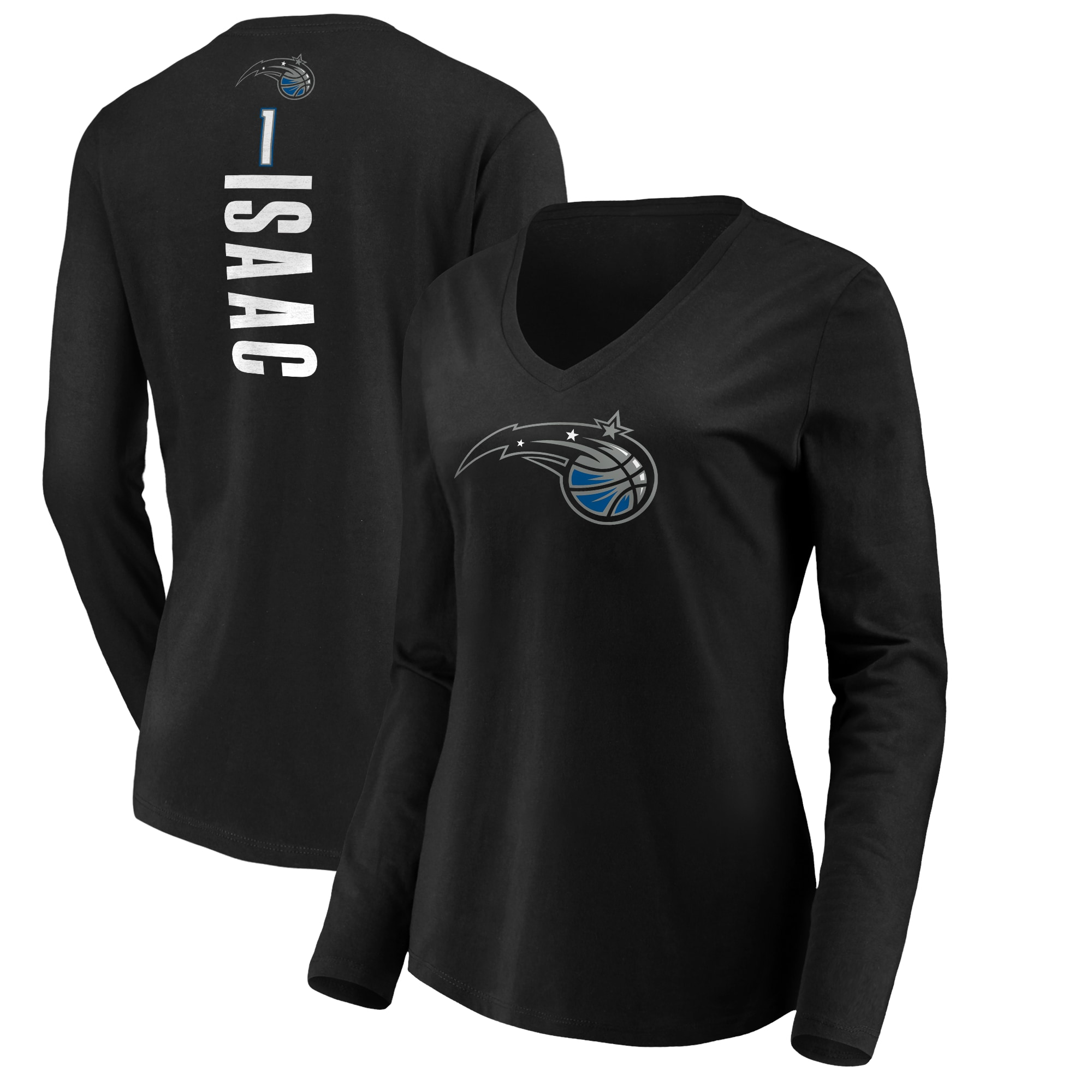 Jonathan Isaac Orlando Magic Fanatics Branded Women's Playmaker Name & Number Long Sleeve V-Neck T-Shirt - Black