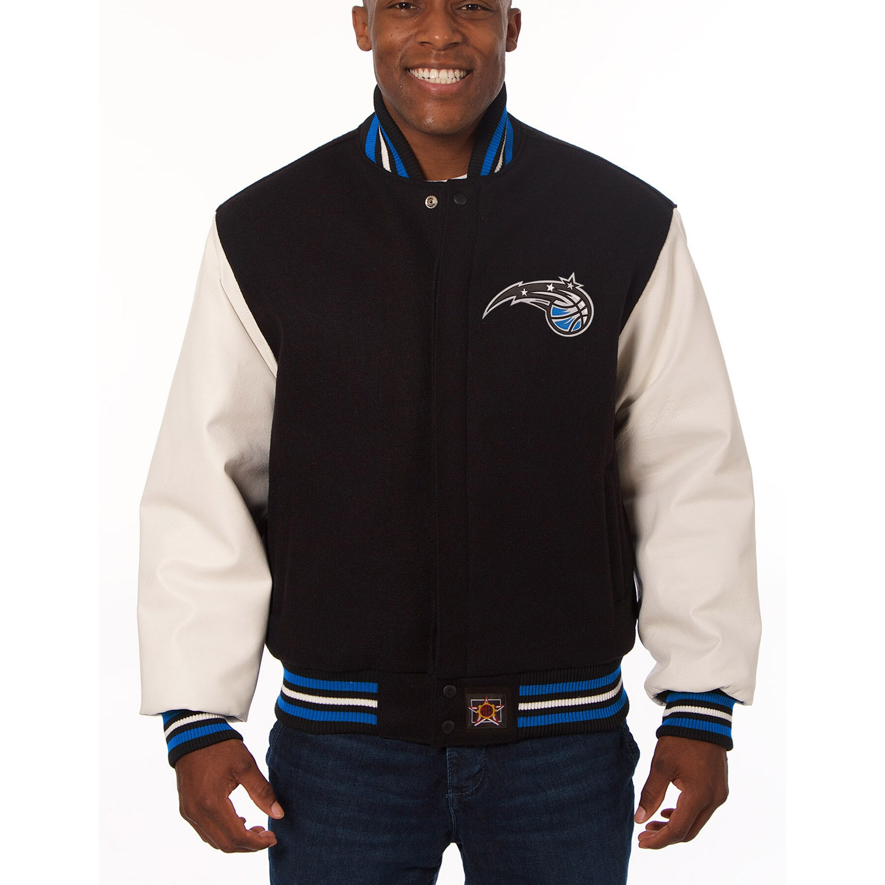 Orlando Magic JH Design Domestic Two-Tone Wool and Leather Jacket - Black