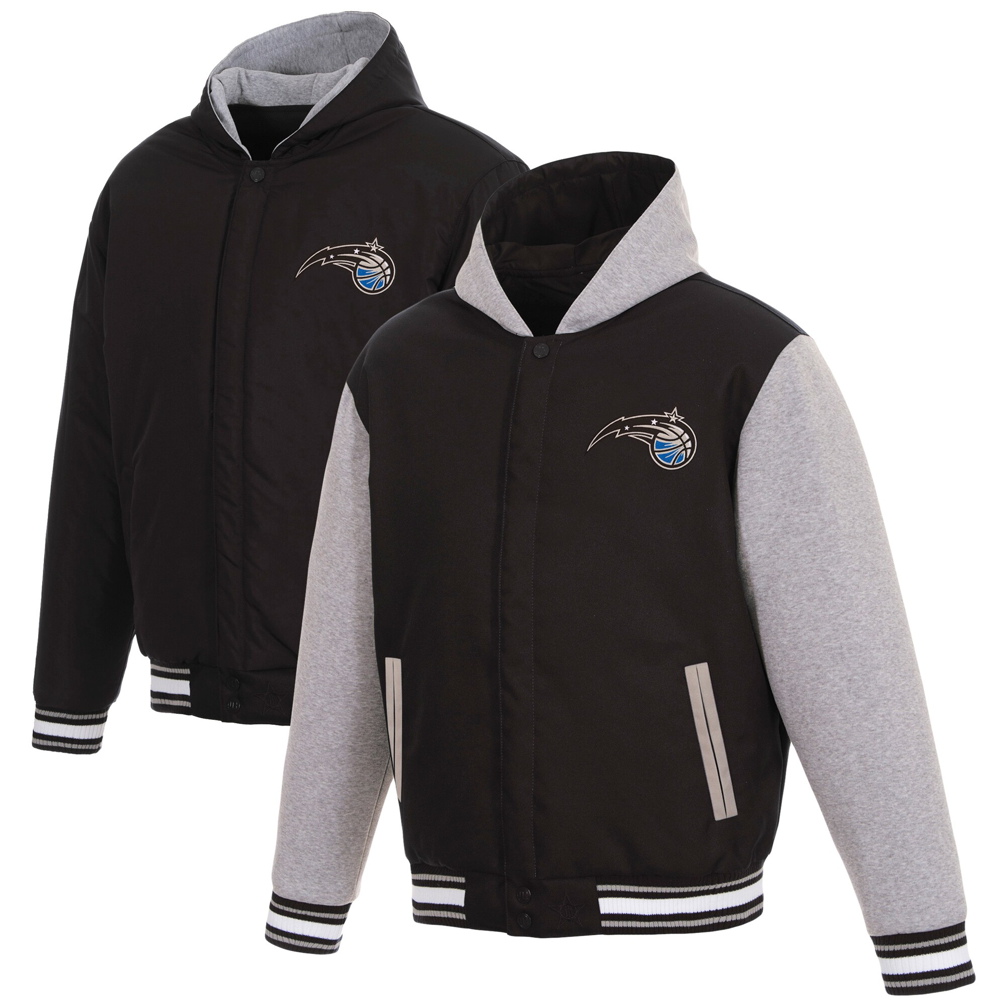 Orlando Magic JH Design Reversible Poly-Twill Hooded Jacket with Fleece Sleeves - Black/Gray