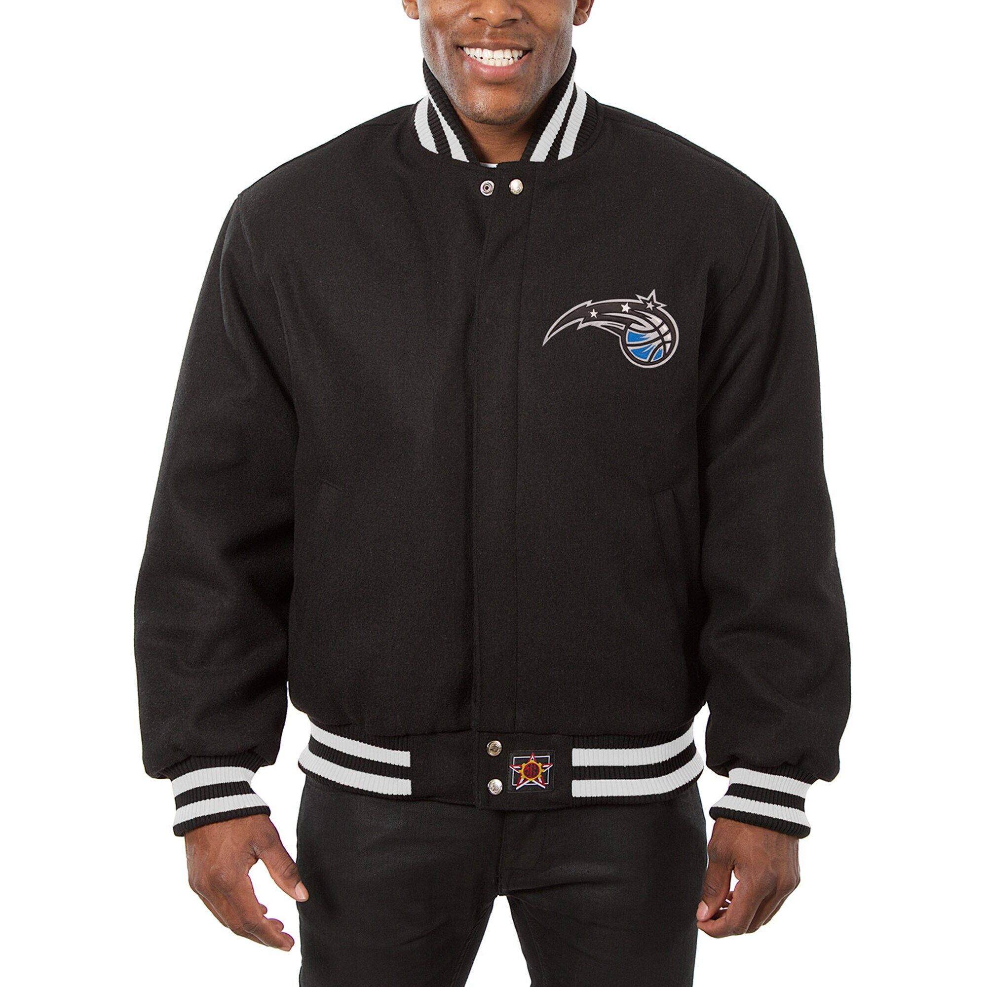 Orlando Magic JH Design Big & Tall All Wool Jacket with Leather Logo - Black