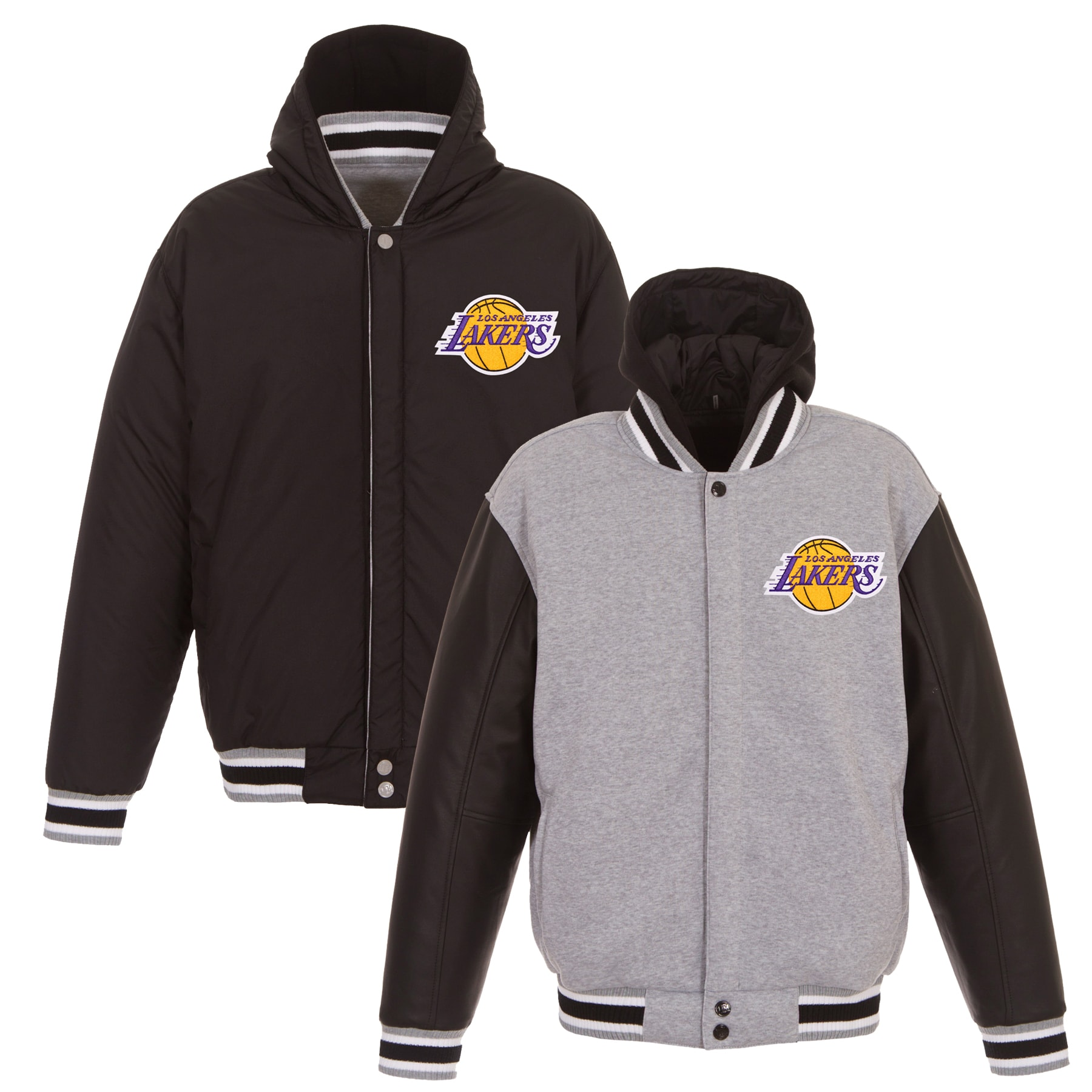 Los Angeles Lakers JH Design Embroidered Logo Reversible Hooded Fleece Full-Snap Jacket - Gray/Black