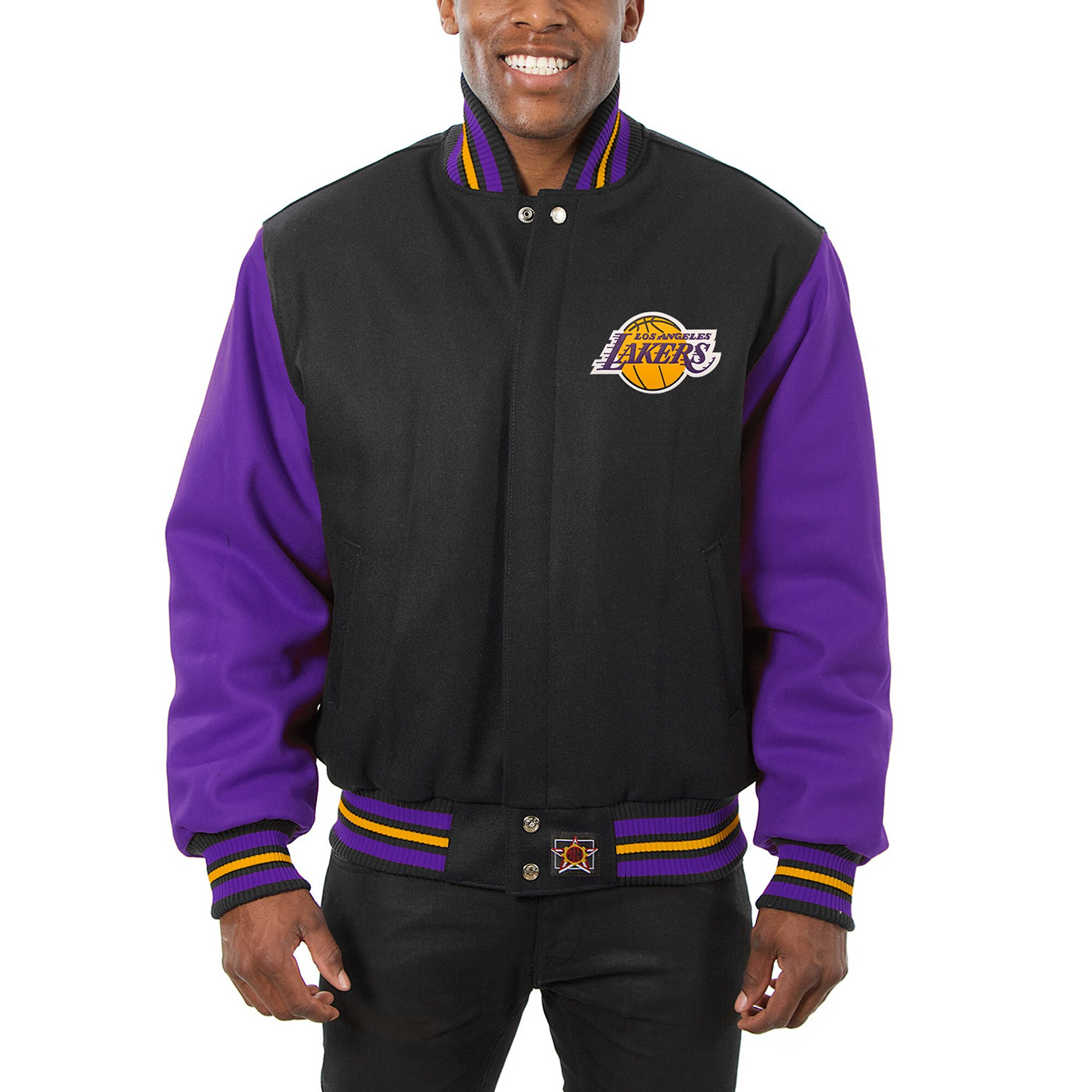 Los Angeles Lakers JH Design Domestic Two-Tone Wool Jacket - Black -