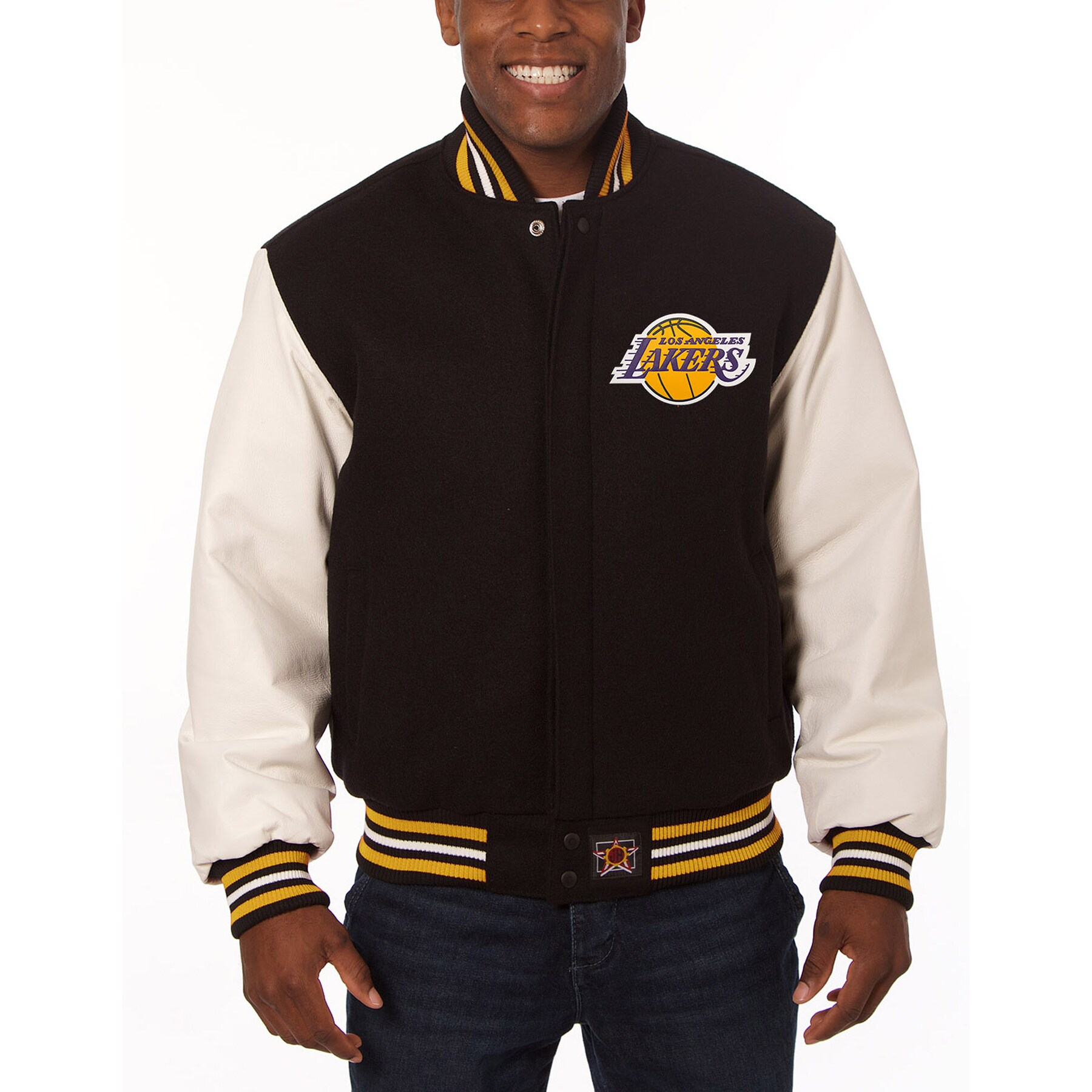 Los Angeles Lakers JH Design Domestic Two-Tone Wool and Leather Jacket - Black