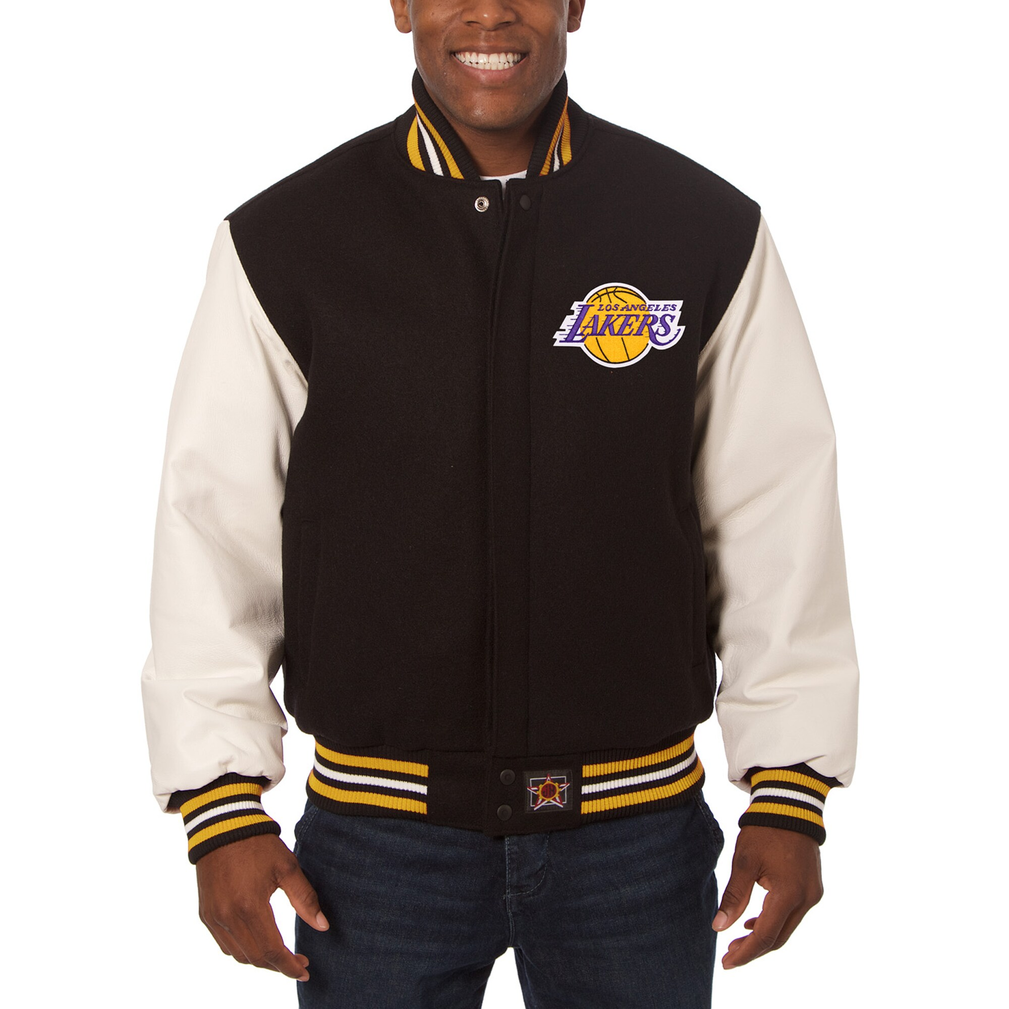 Los Angeles Lakers JH Design Big & Tall Wool & Leather Jacket - Black/White