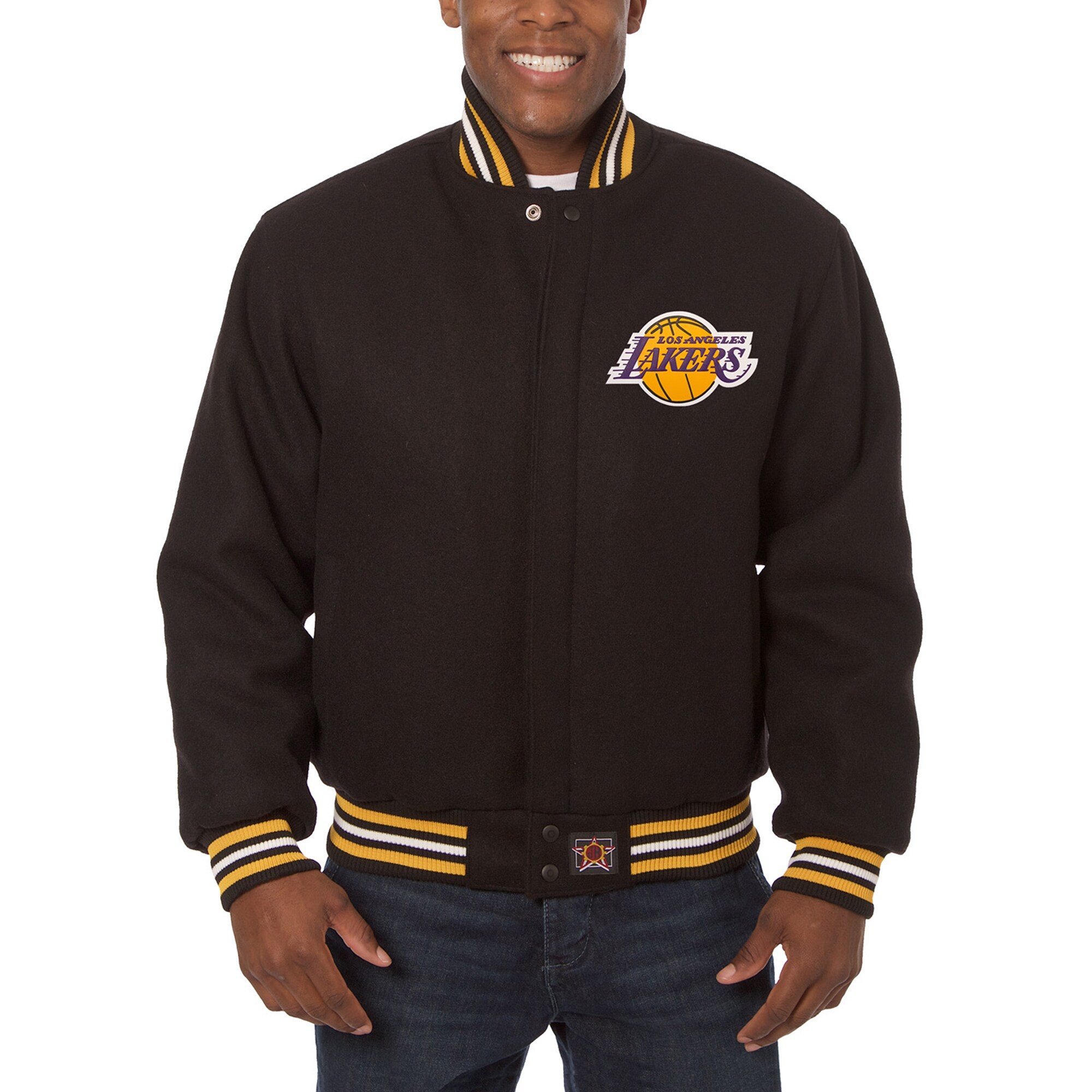 Los Angeles Lakers JH Design Big & Tall All Wool Jacket with Leather Logo - Black
