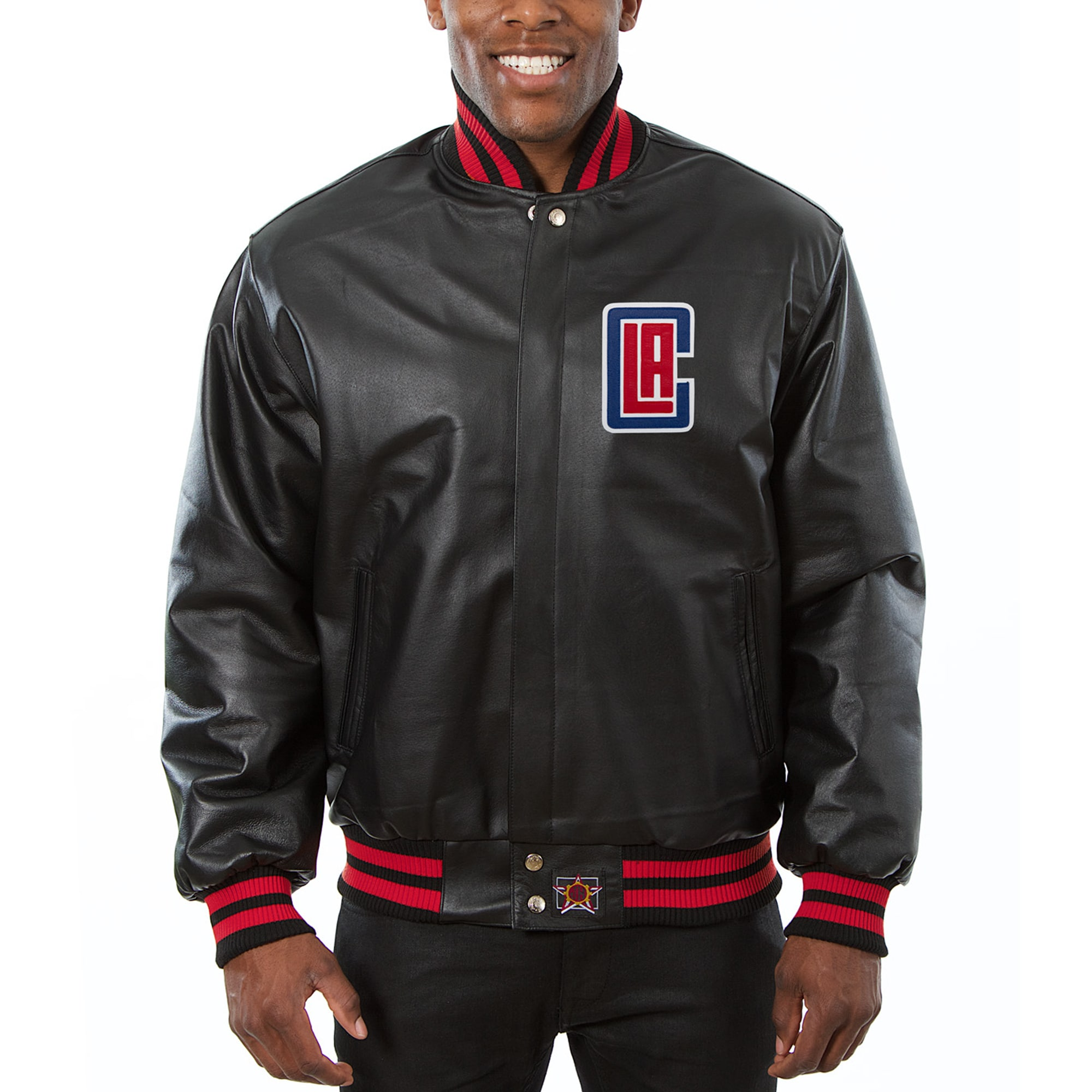 LA Clippers JH Design Big & Tall All-Leather Full-Snap Jacket - Black