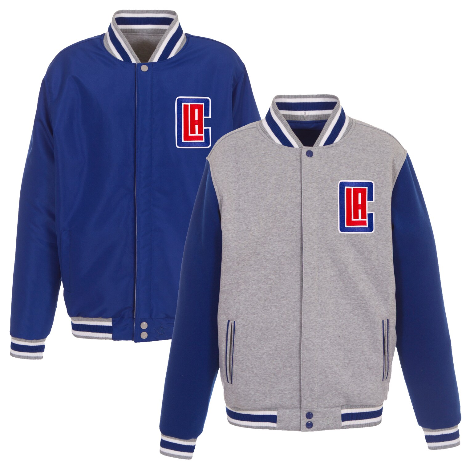 LA Clippers JH Design Embroidered Logo Reversible Fleece Full-Snap Jacket - Gray/Royal