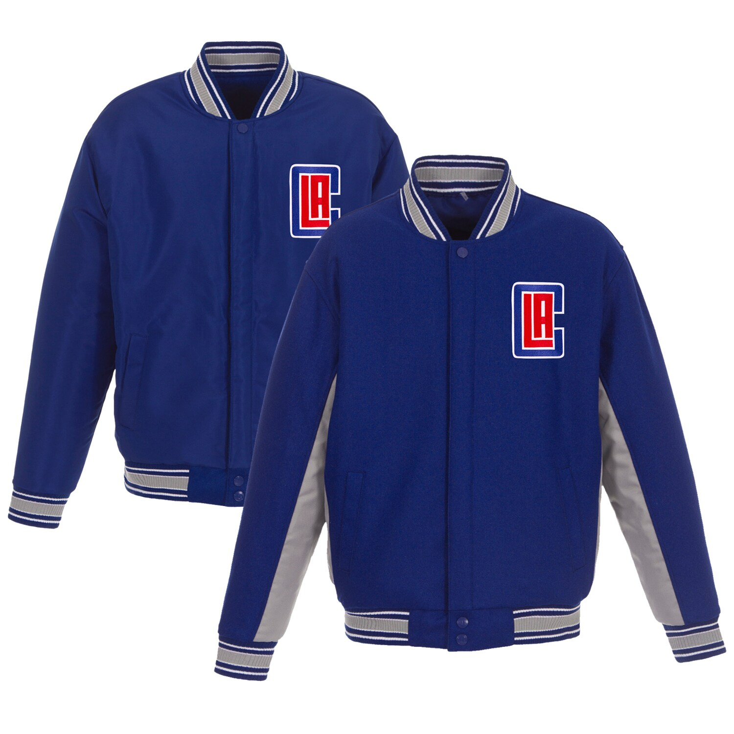 LA Clippers JH Design Reversible Wool & Poly-Twill Full-Snap Jacket - Royal/Gray