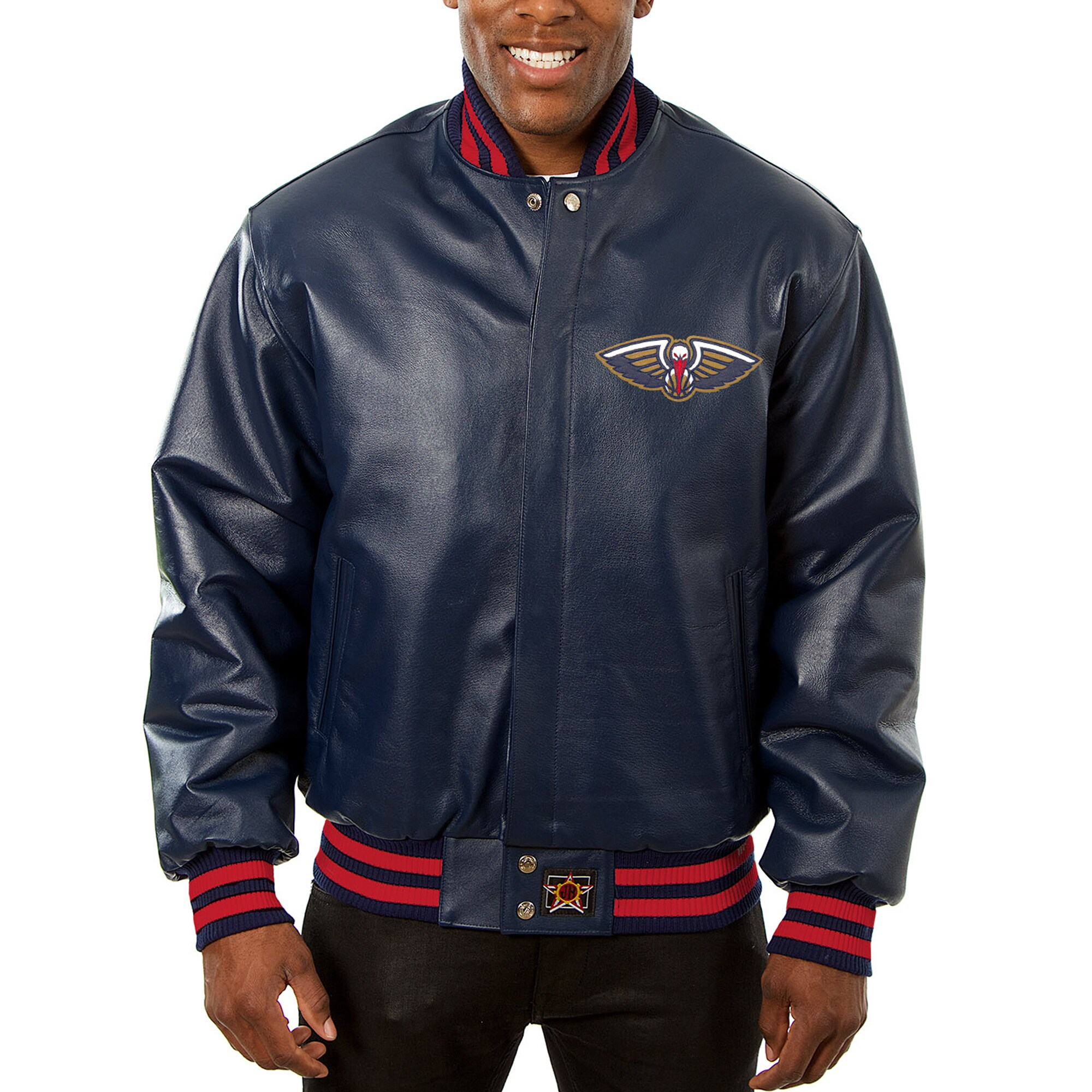 New Orleans Pelicans JH Design Big & Tall All-Leather Logo Full-Snap Jacket - Navy