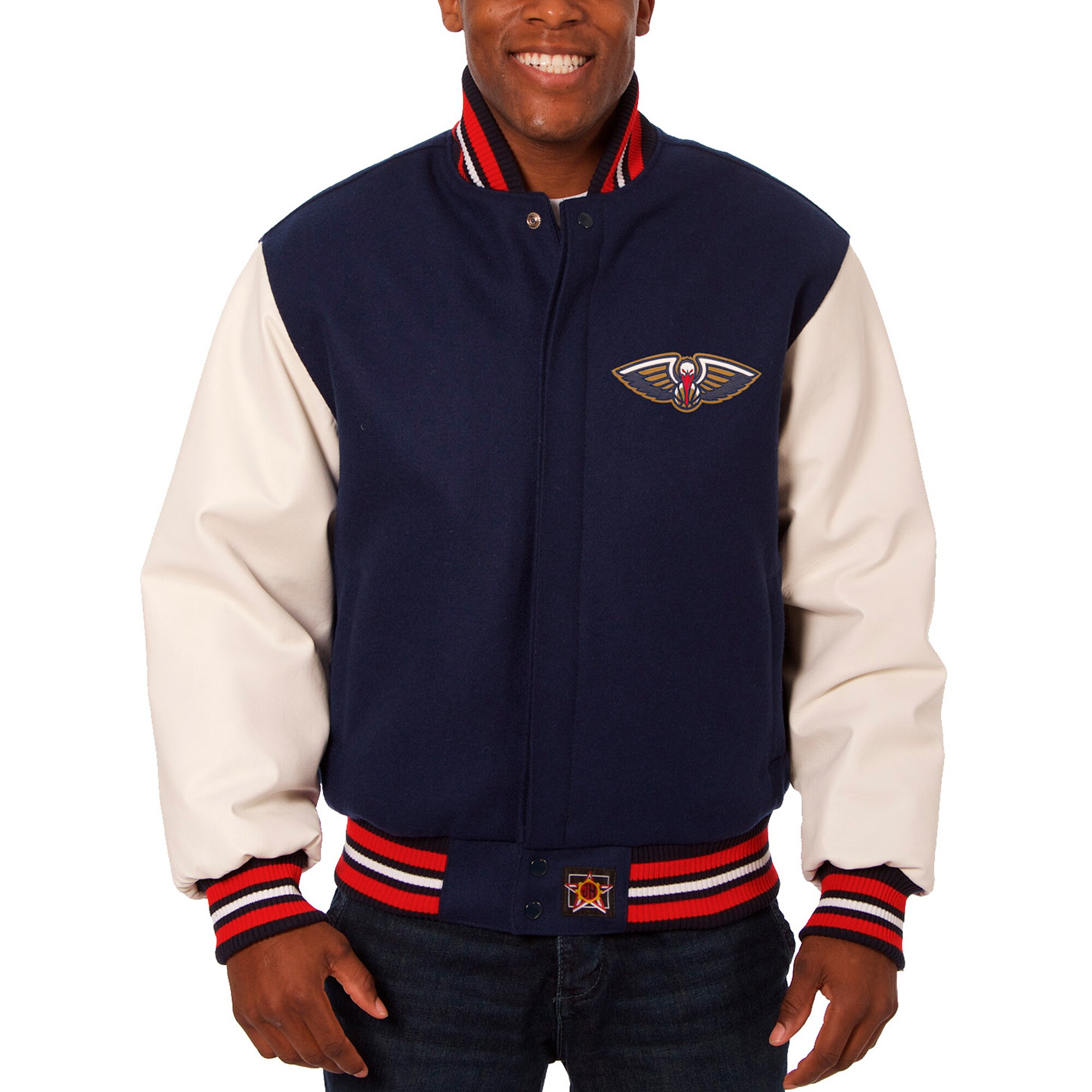 New Orleans Pelicans JH Design Big & Tall Wool & Leather Full-Snap Jacket - Navy/White