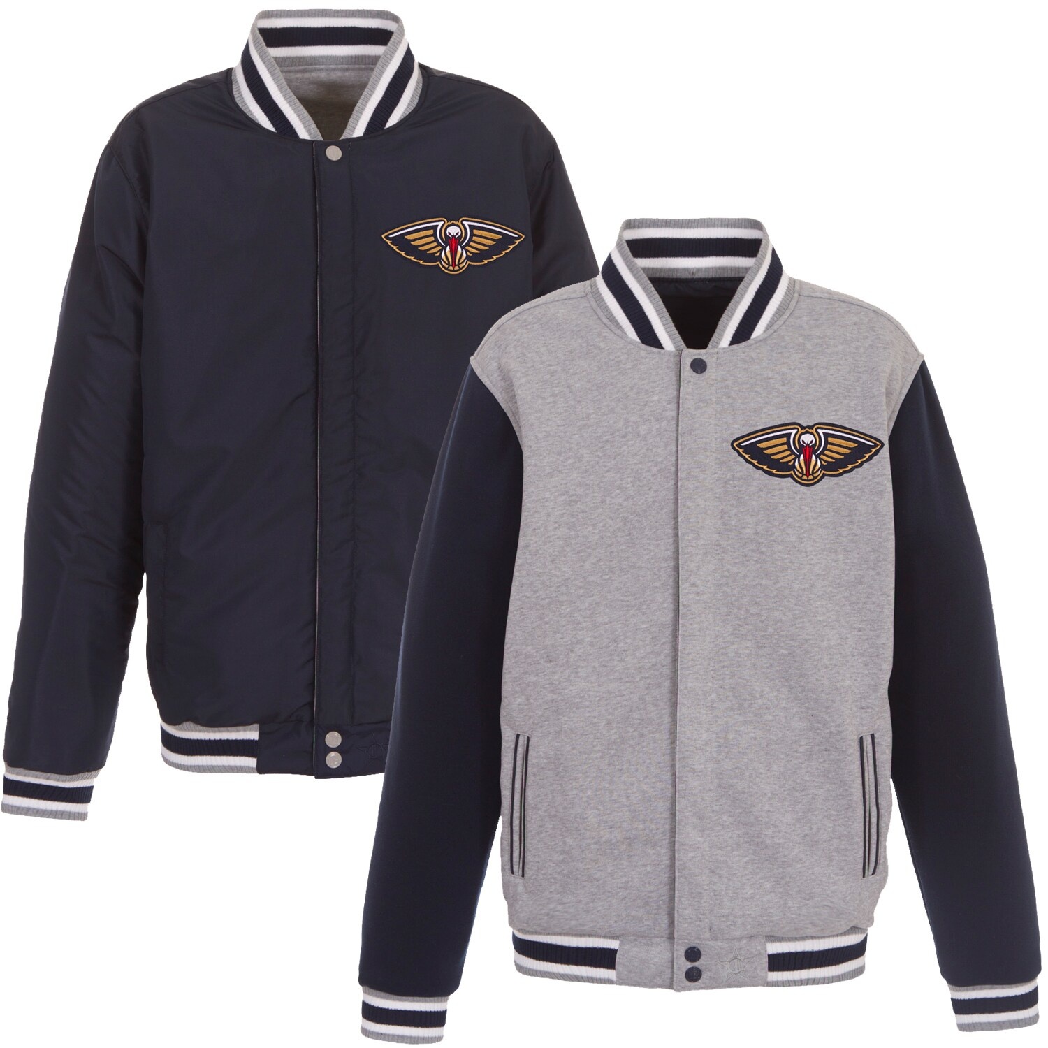 New Orleans Pelicans JH Design Embroidered Logo Reversible Fleece Full-Snap Jacket - Gray/Navy